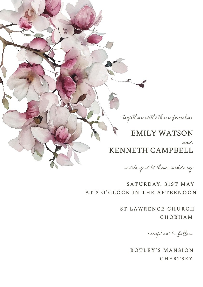 Cherry Blossoms Wedding Invitation