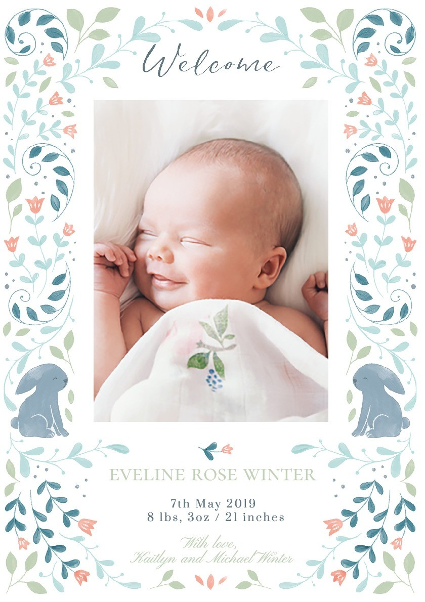 Folk Bunny Birth Announcement