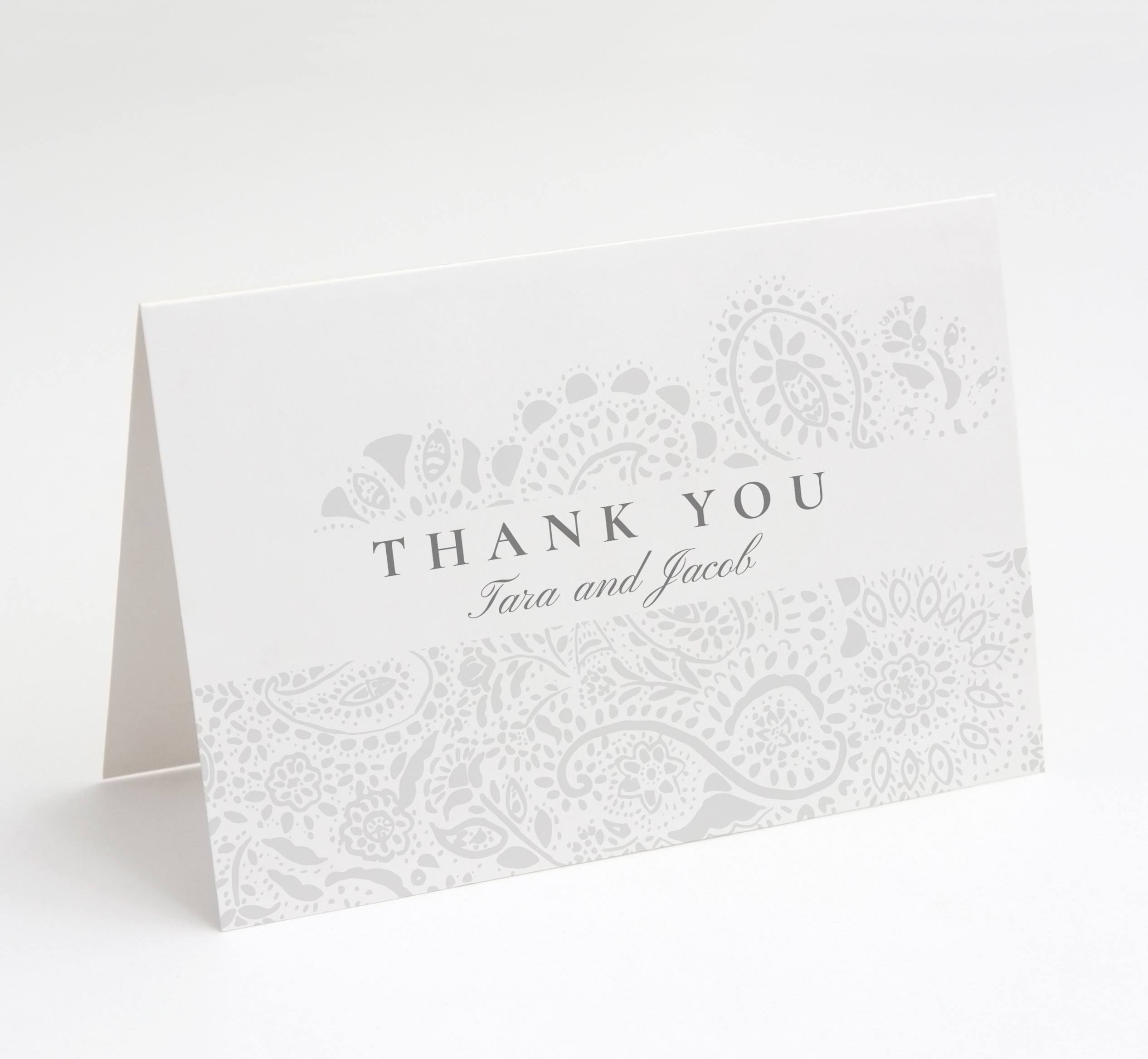 Dove Grey Paisley Thank You Card