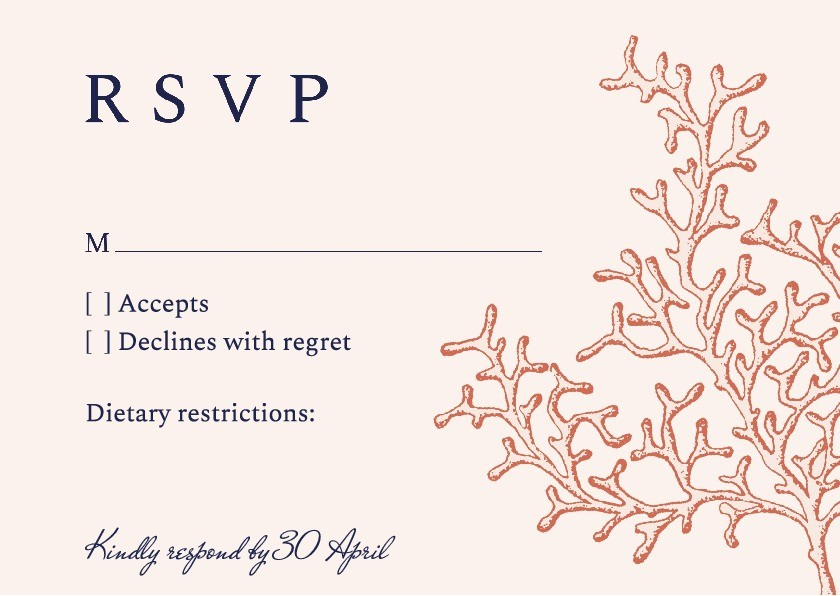 Coral Cay RSVP Card