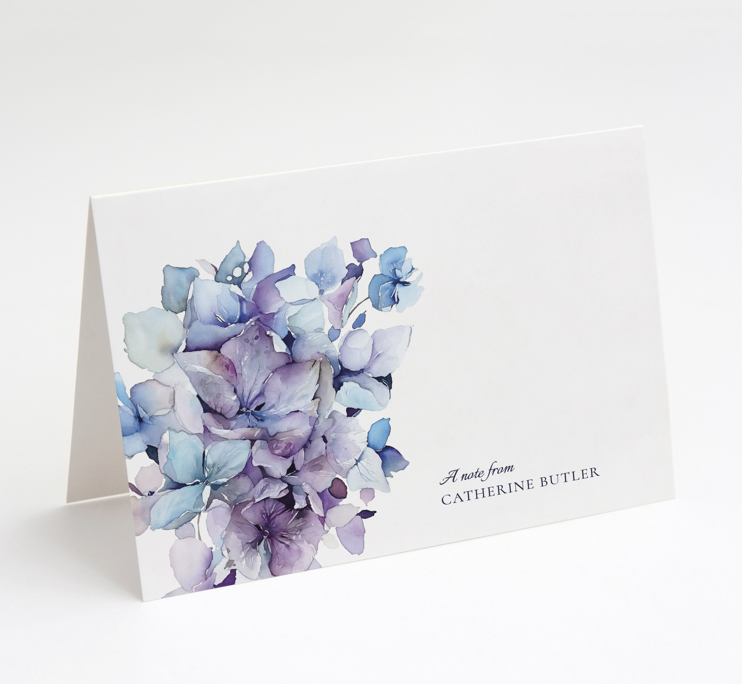 Hydrangea Bloom Folded Notecard