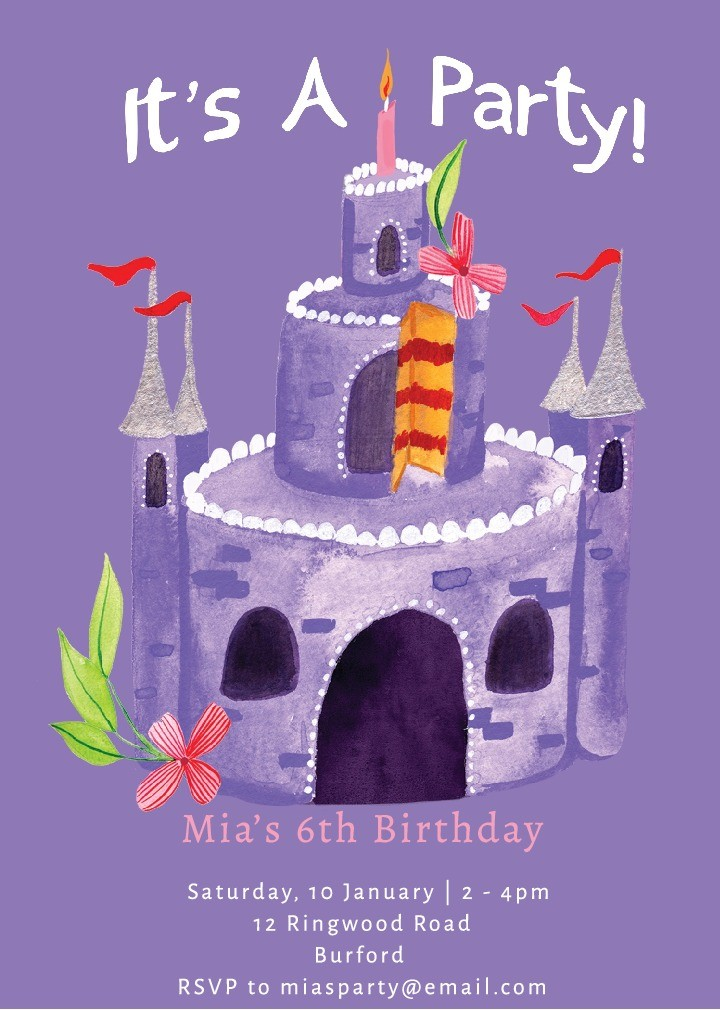 Castle Cake Party Invitation