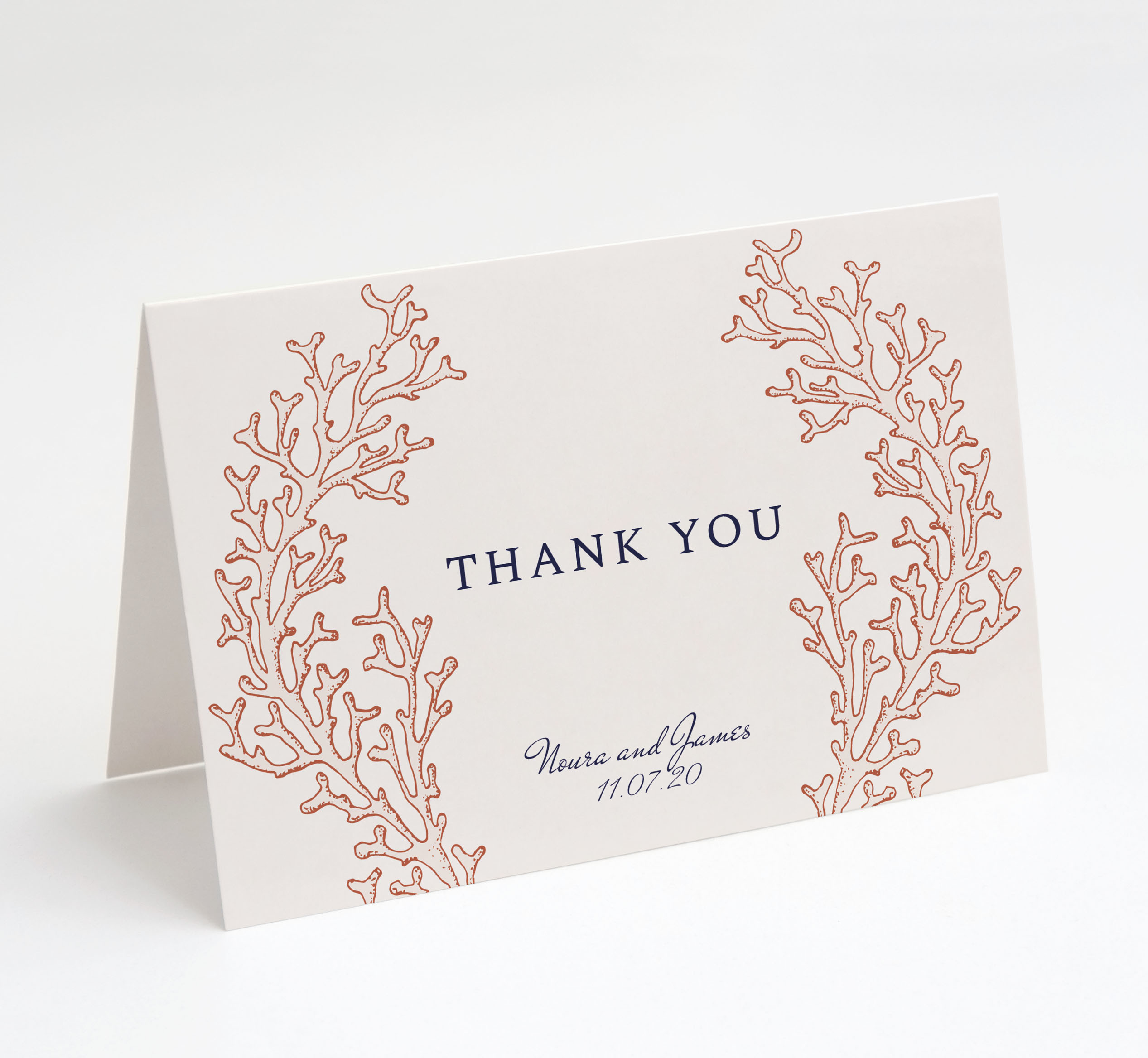 Coral Cay Folded Thank You Card