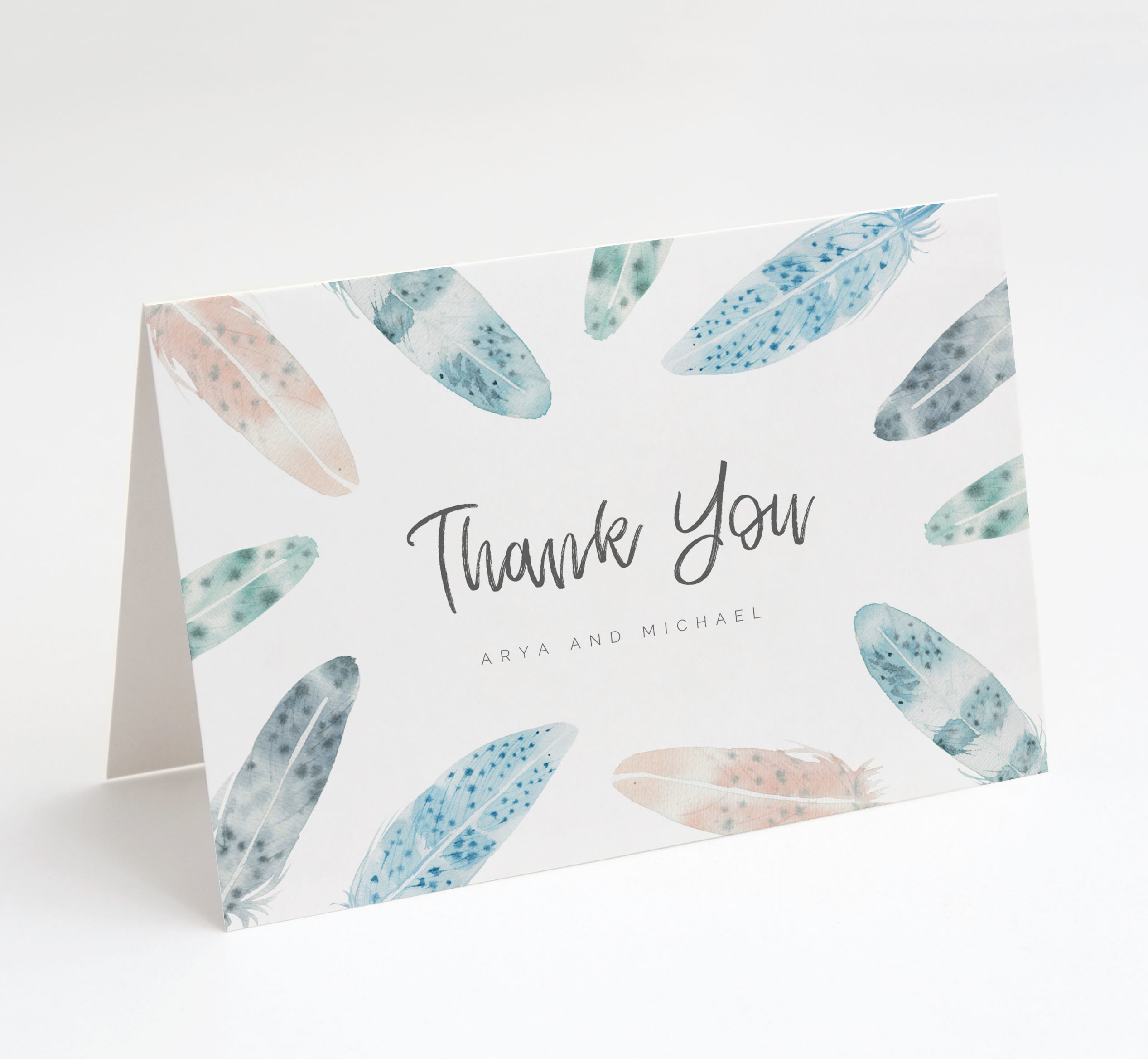 Watercolour Feathers Thank You Card