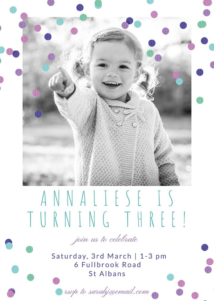 Confetti Breeze Purple Party Invitation