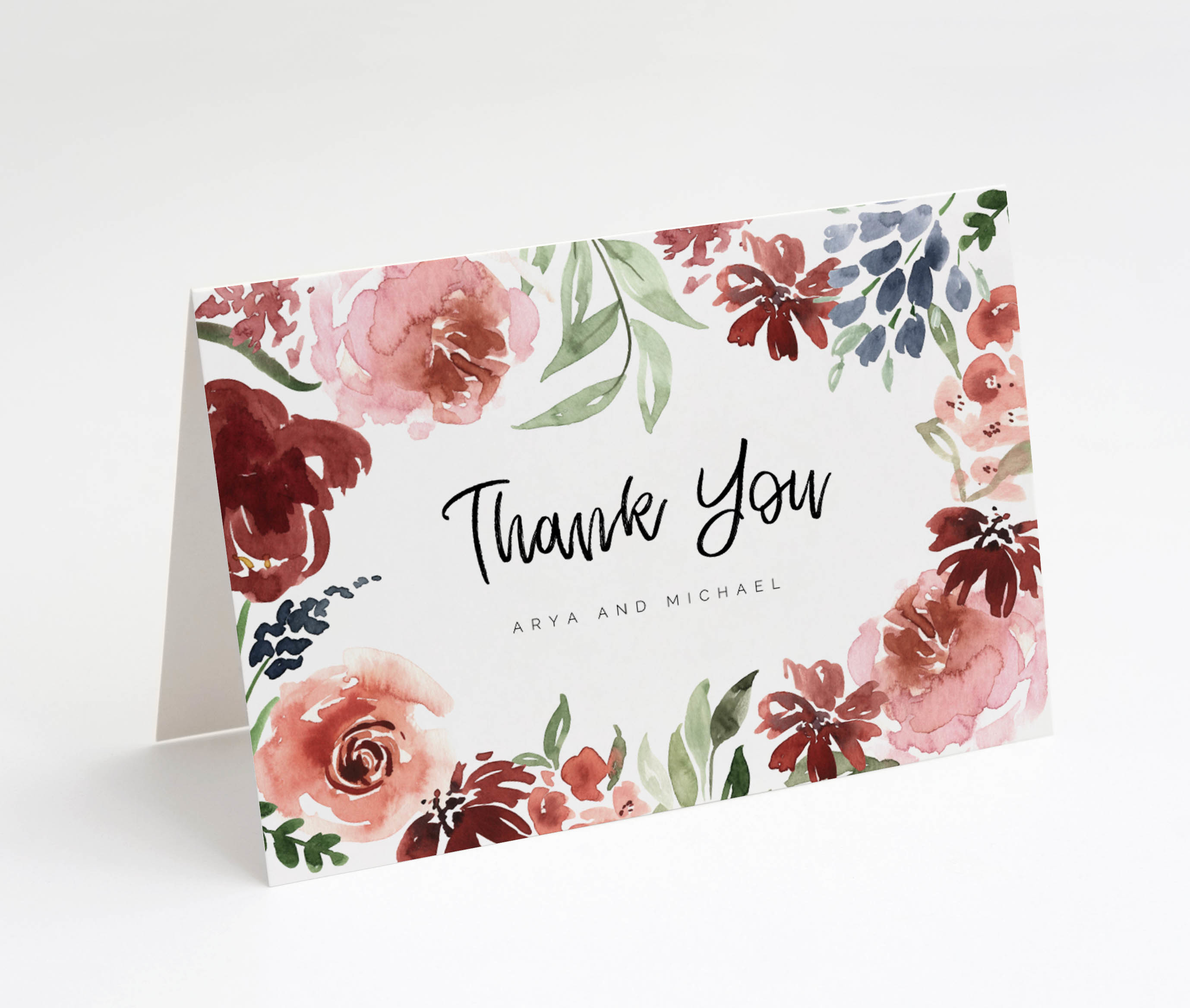 Crimson Garden Folded Thank You Card