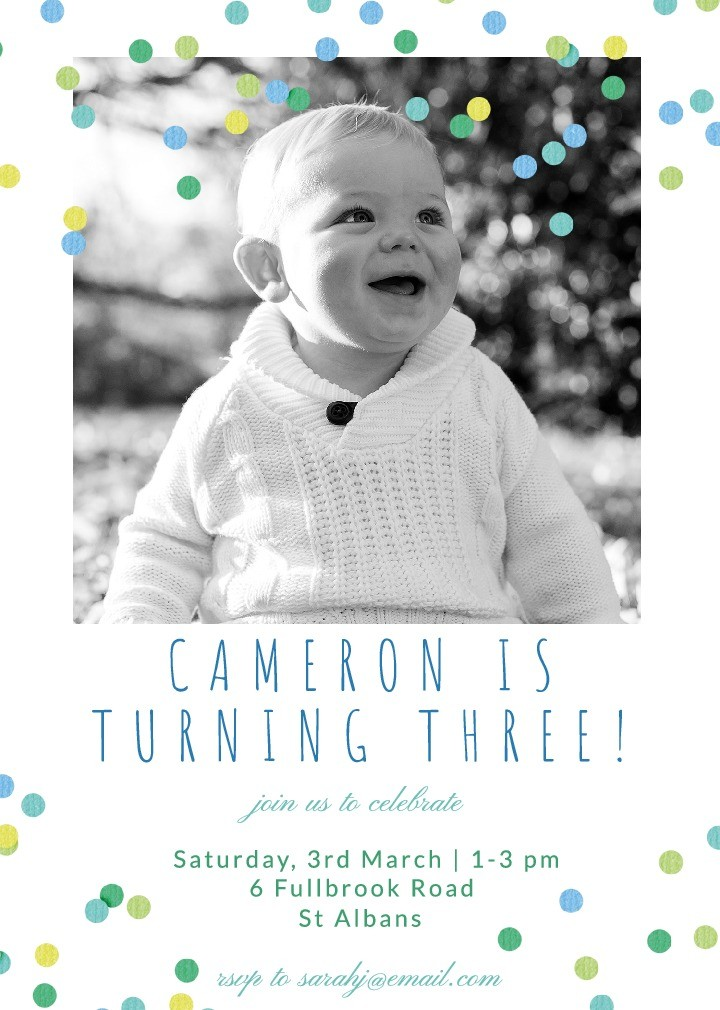 Confetti Breeze Blue Party Invitation