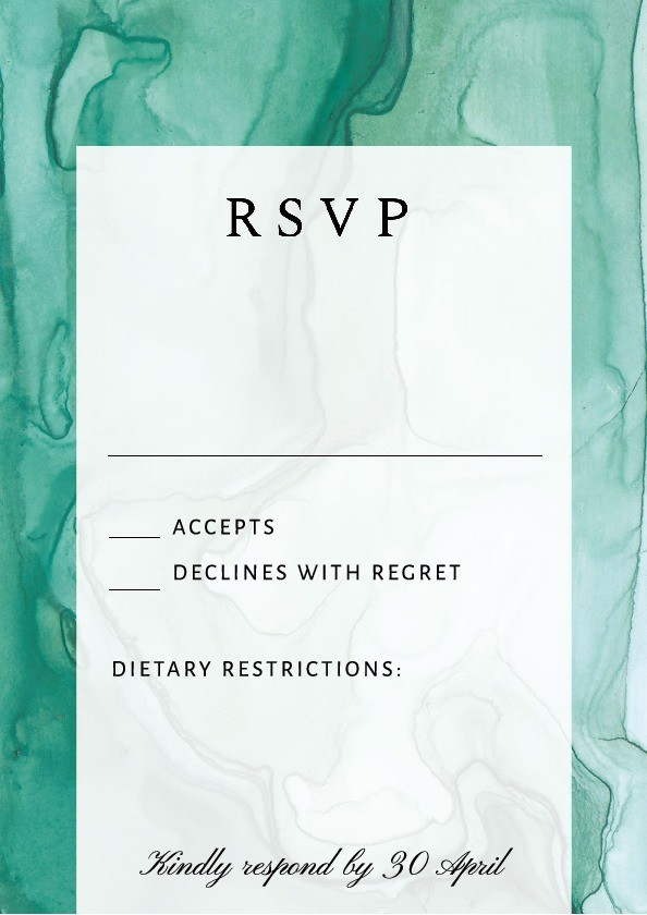 Emerald Marble RSVP Card