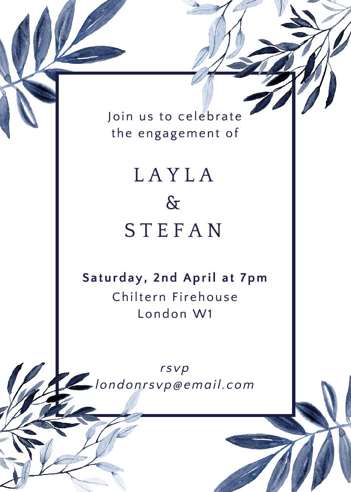 Indigo Foliage Invitation