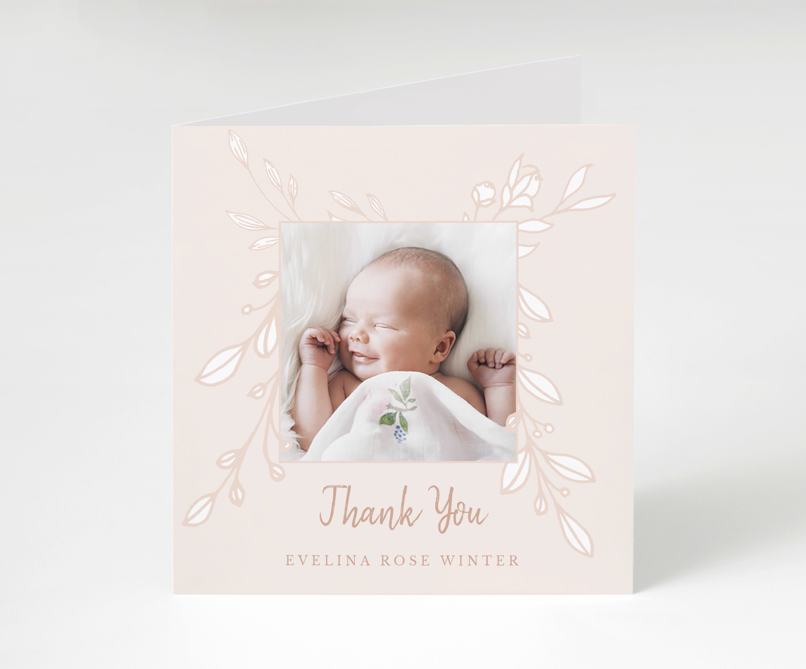 Peachy Florals Thank You Card