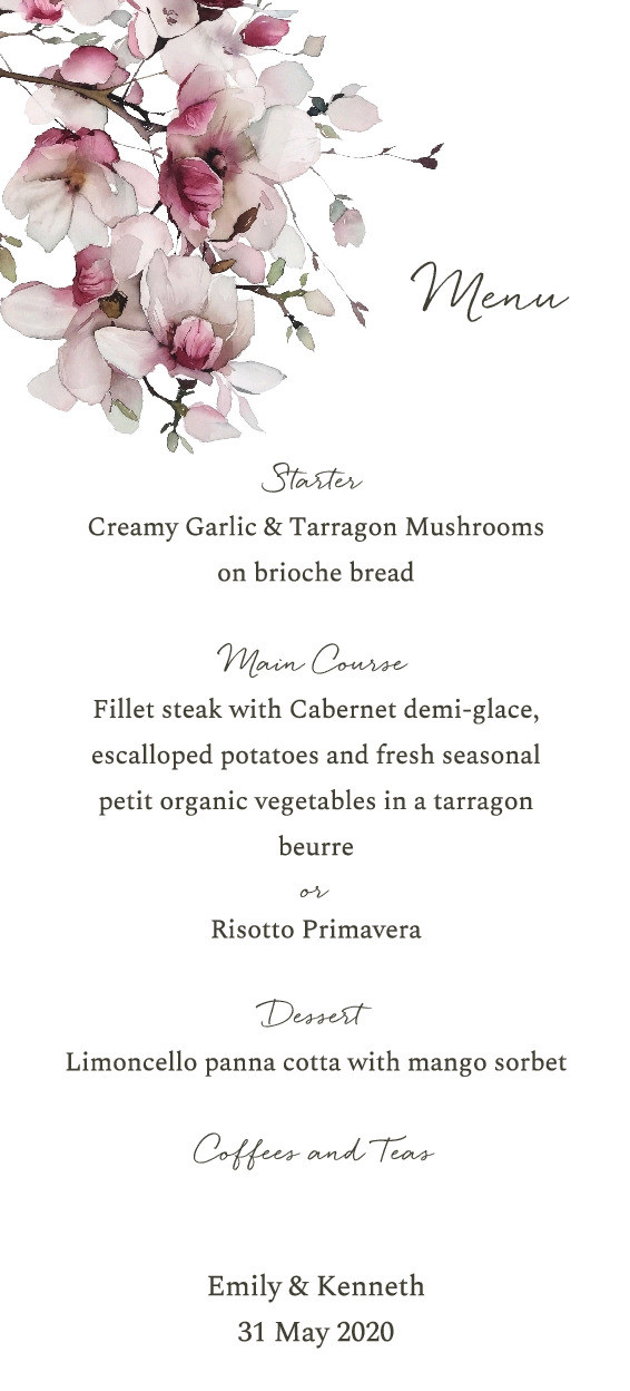 Cherry Blossoms Menu