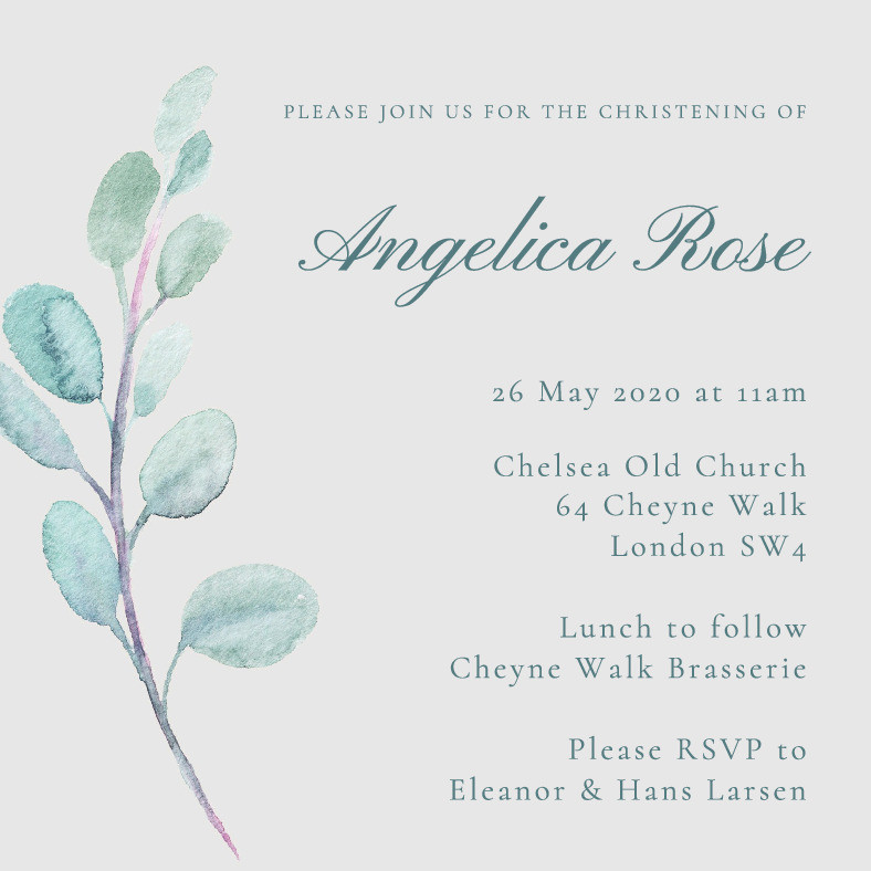 Early Spring Christening Invitation
