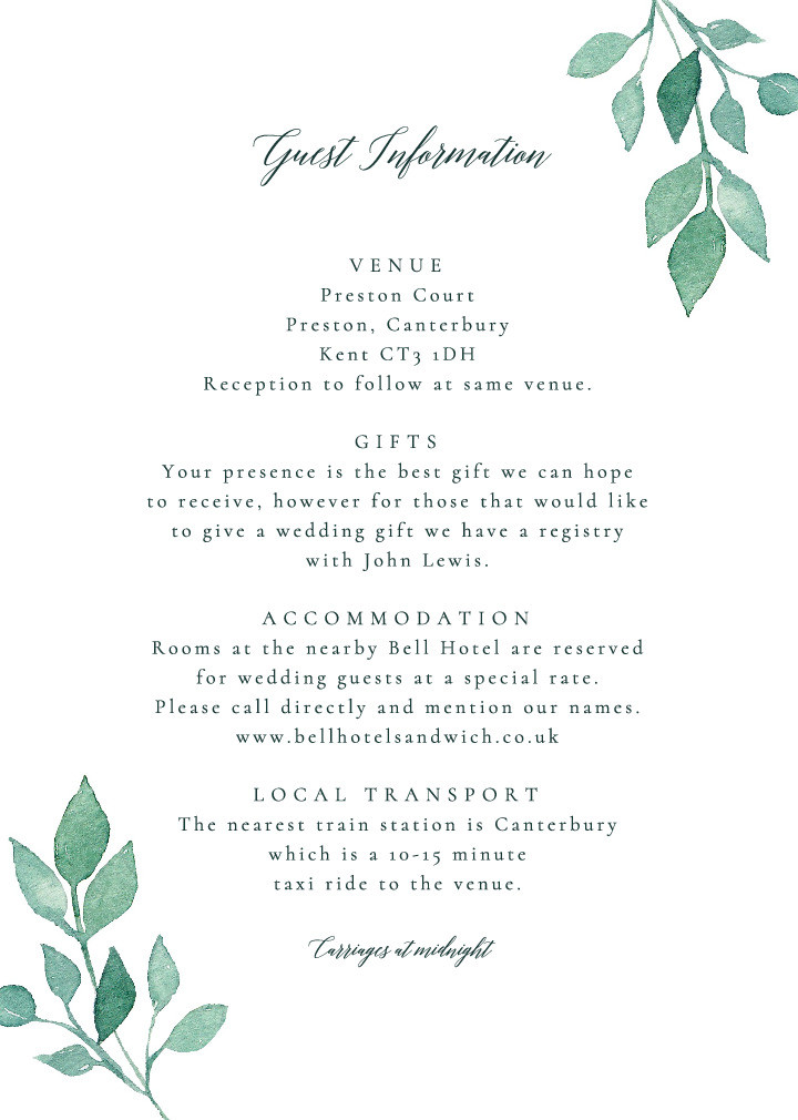 Rustic Foliage Guest Information