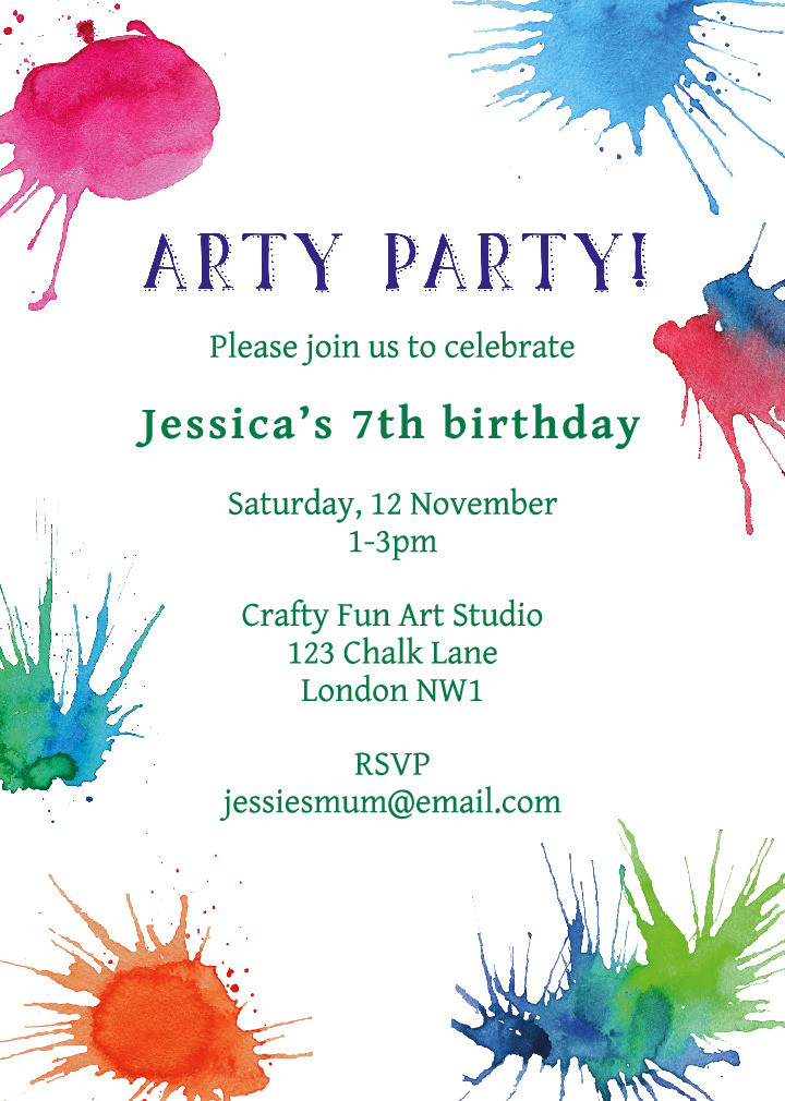 Arty Party Invitation