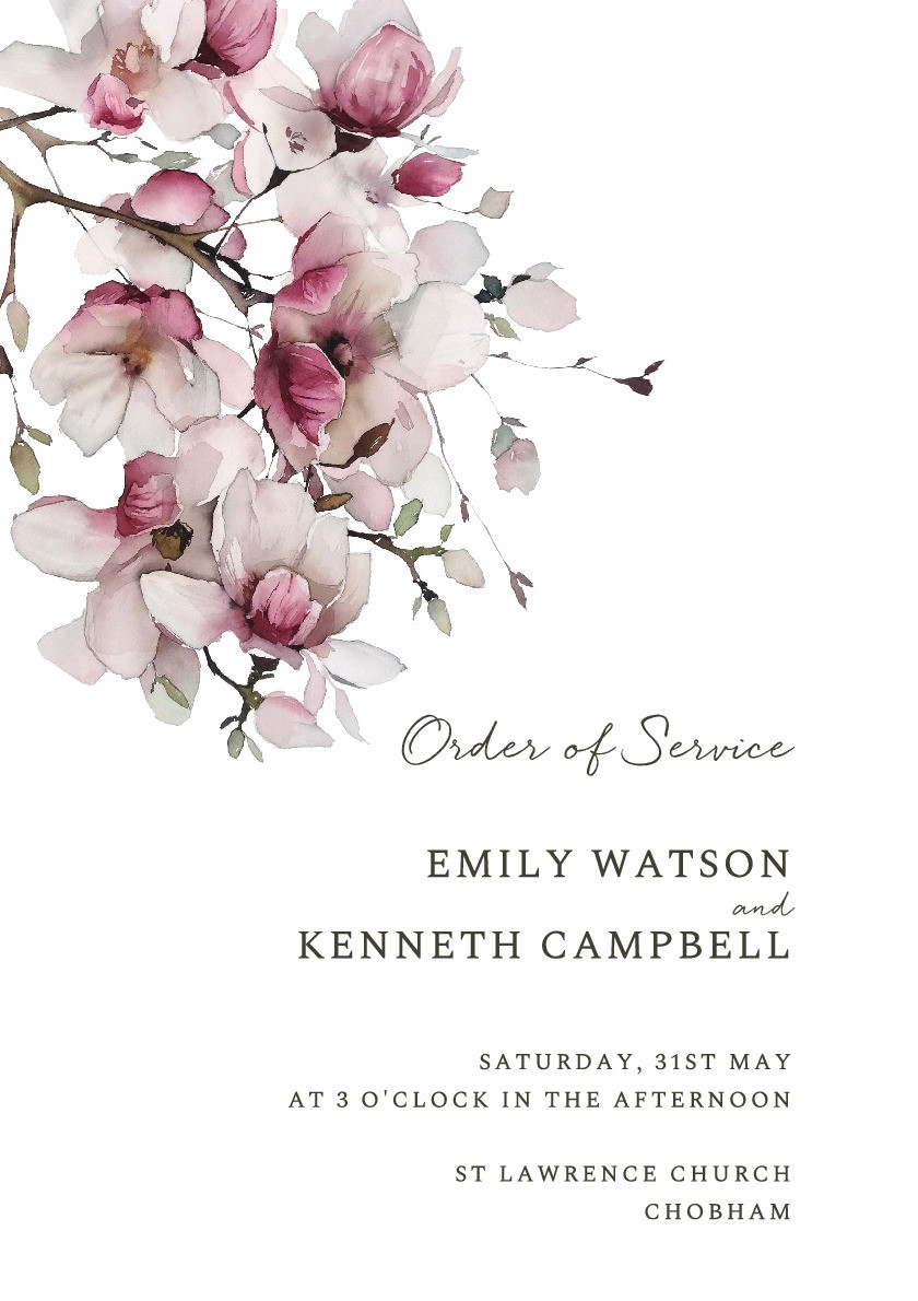 Cherry Blossom Order of Service