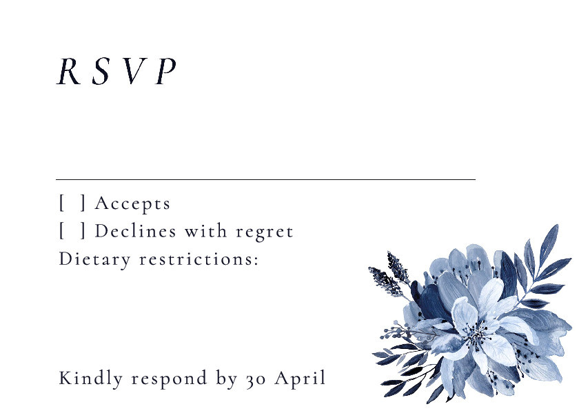 Porcelain Blue RSVP Card