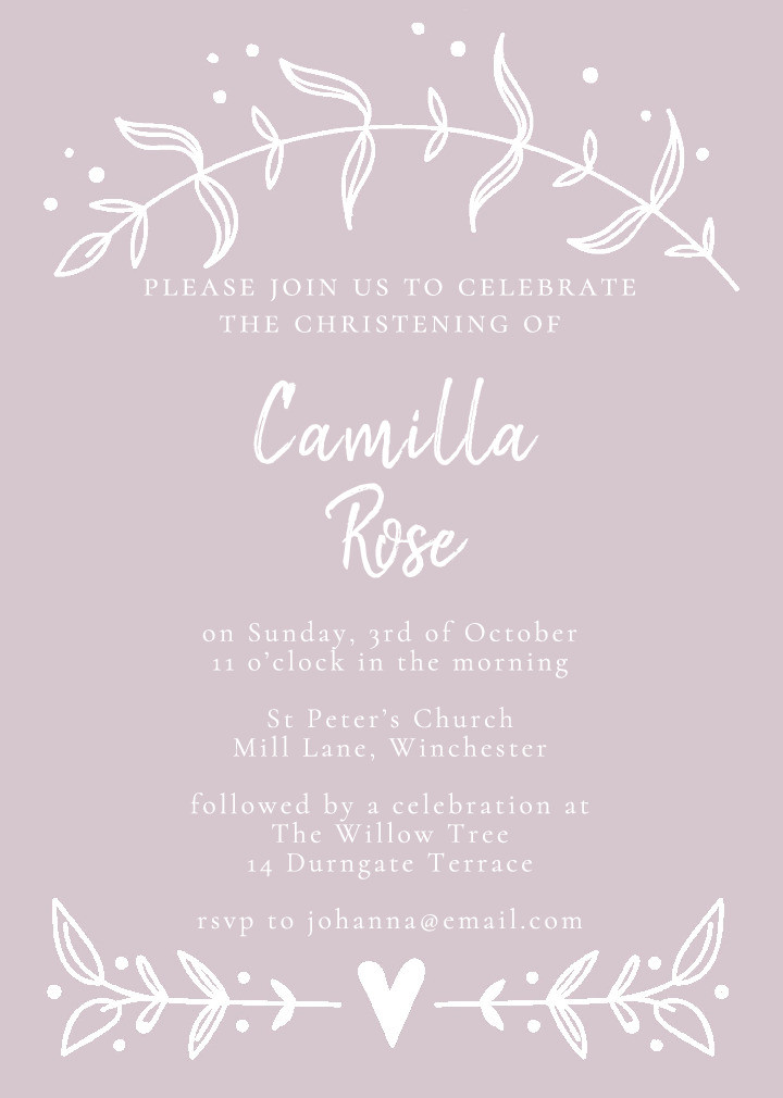 Sprigs of Love Rose Christening Invitation