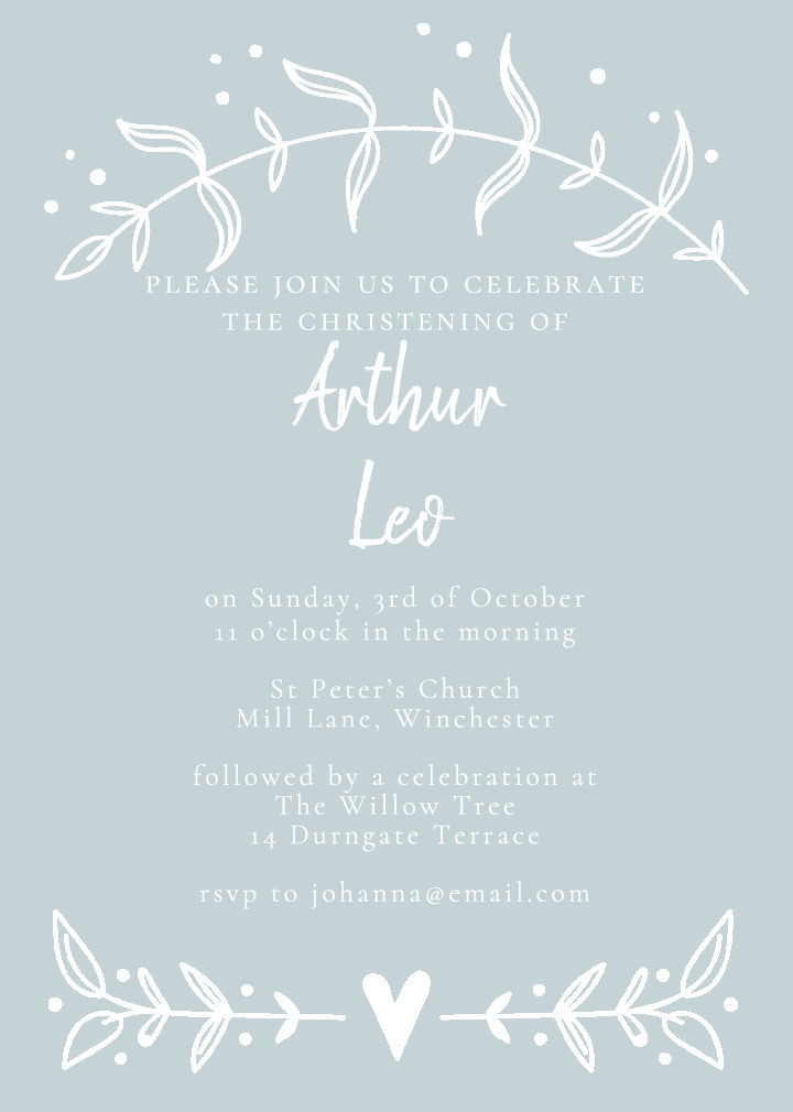 Sprigs of Love Blue Christening Invitation