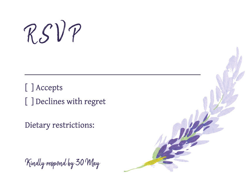 Lilac Meadow RSVP Card
