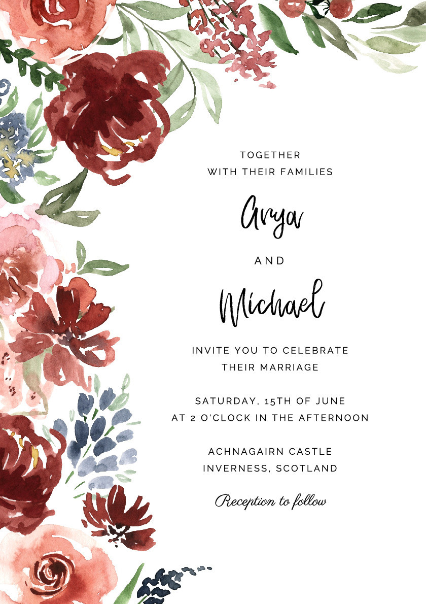 Crimson Garden Wedding Invitation