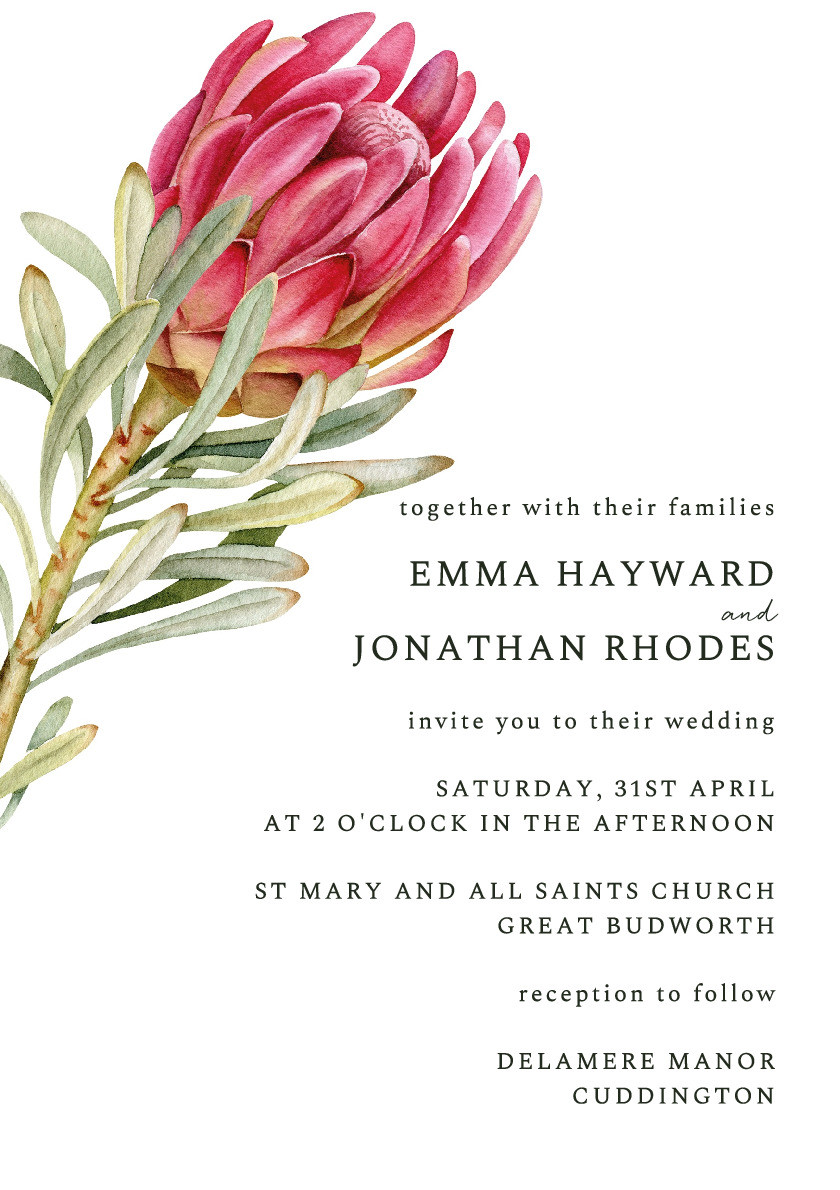 Protea Bloom Wedding Invitation