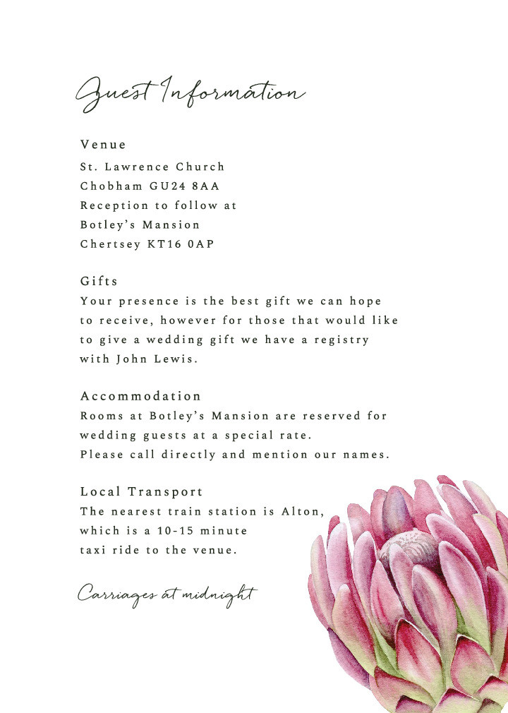 Protea Bloom Guest Information