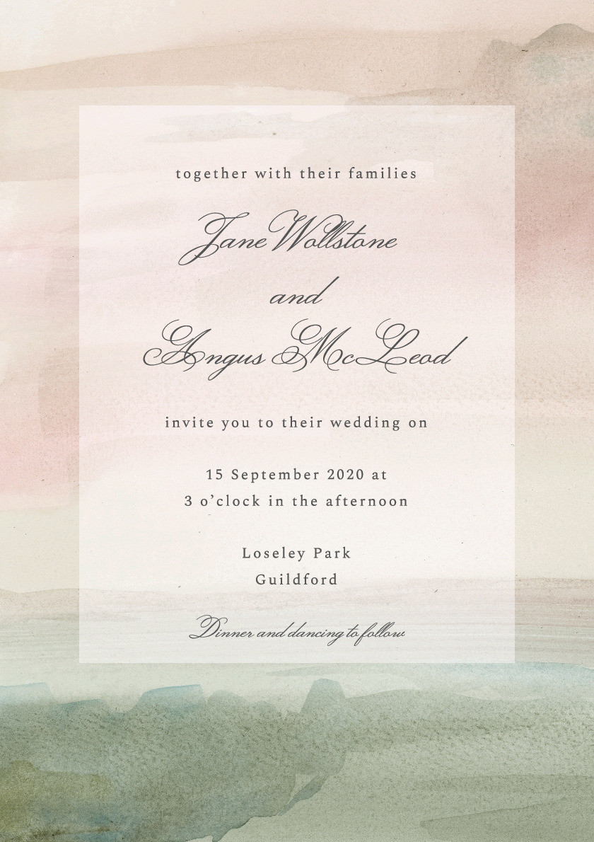 Watercolour Landscape Wedding Invitation
