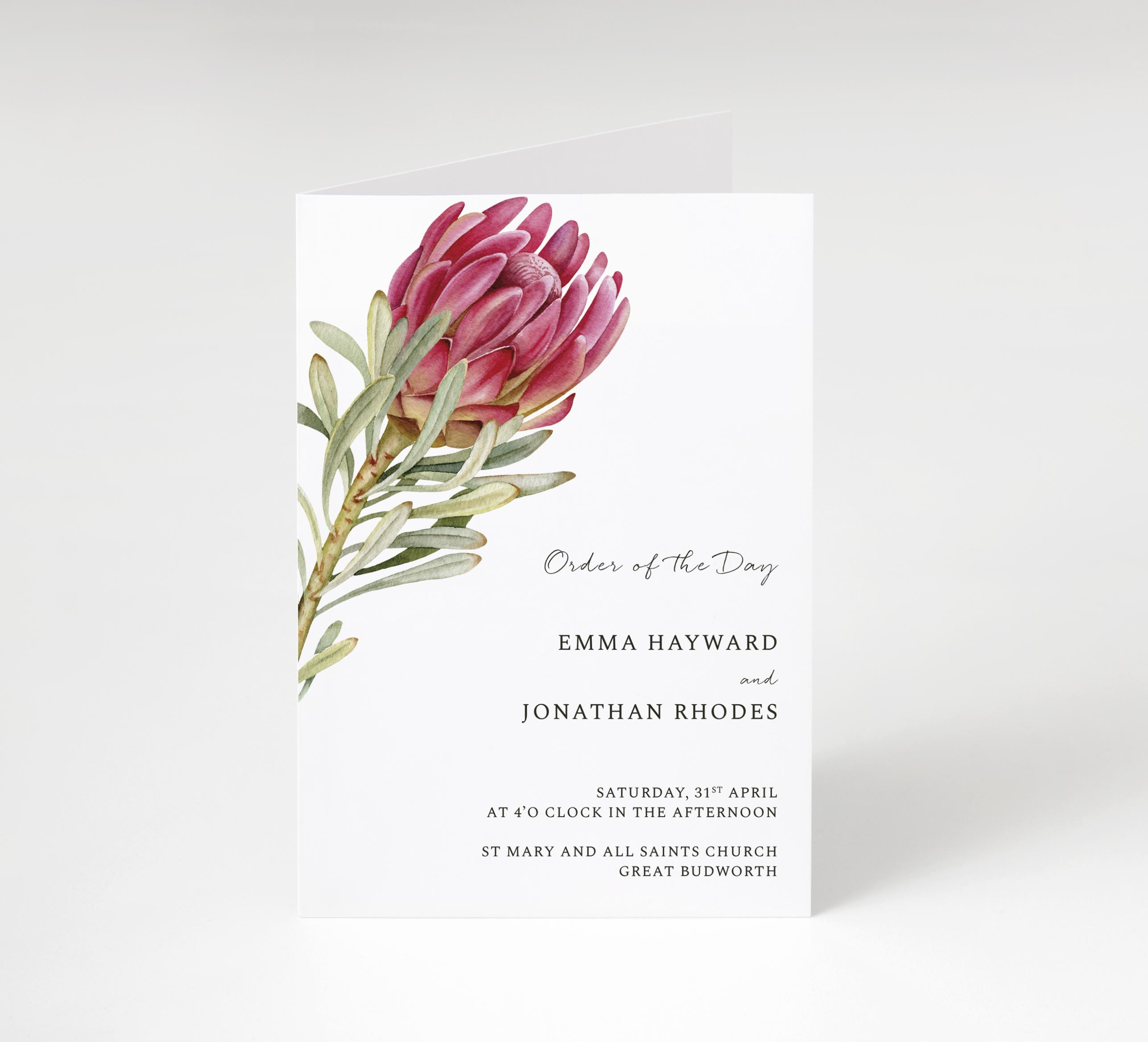 Protea Bloom Order of Service