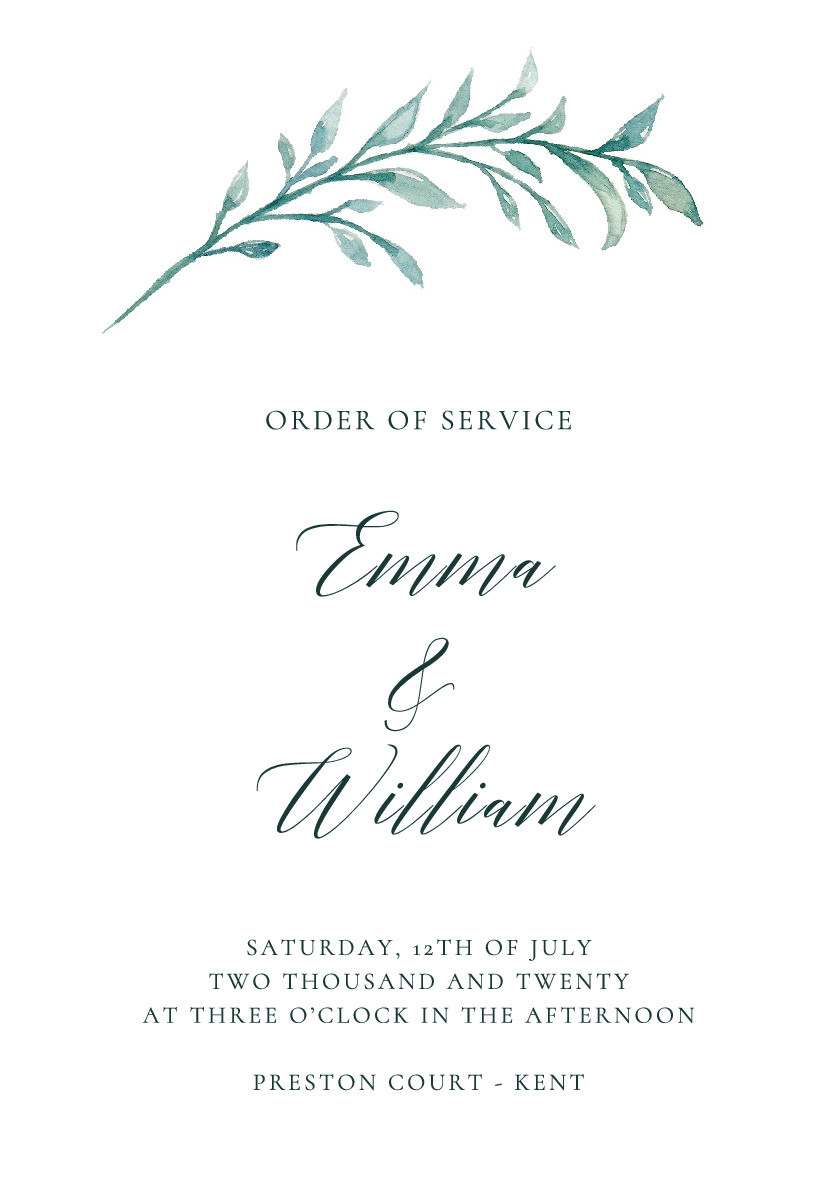 Rustic Foliage Order of Service