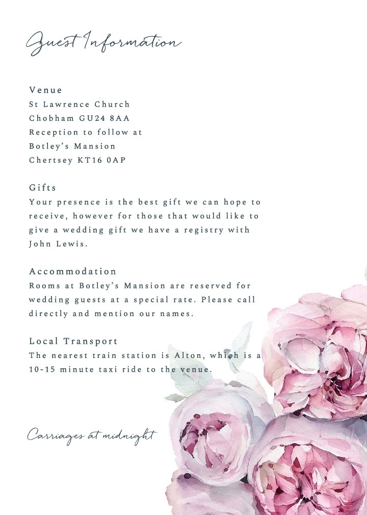 Peony Spring Guest Information