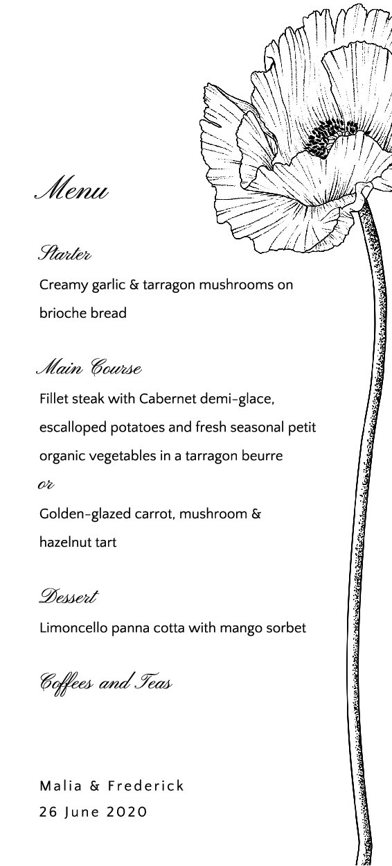 Botanical Sketch Menu