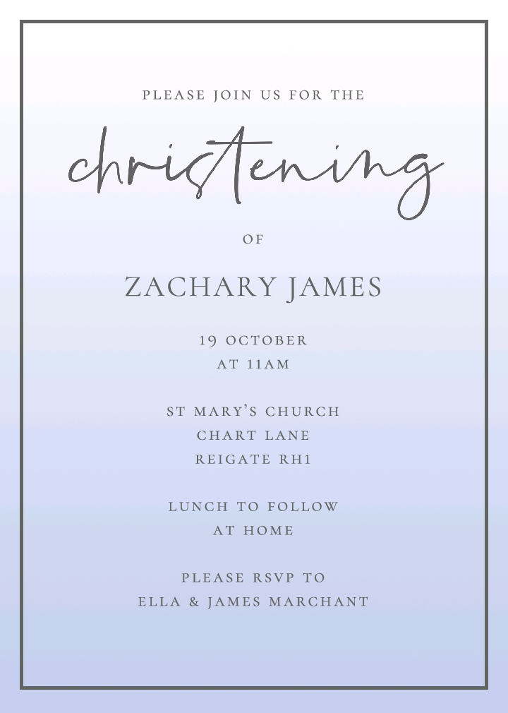 Blue Soft Palette Christening Invitation