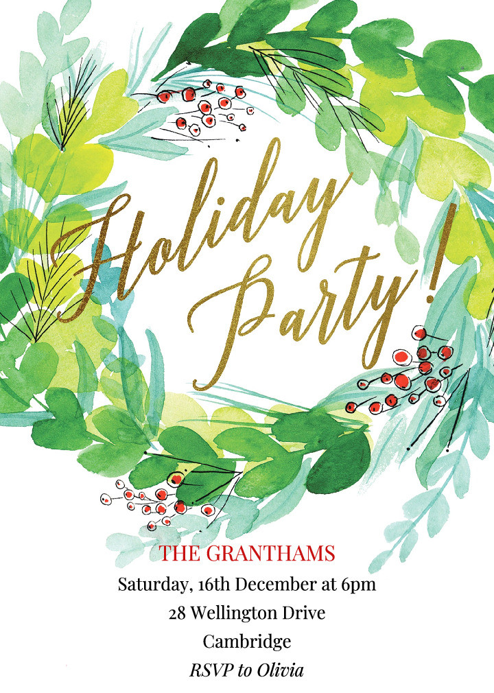 Winter Wreath Holiday Party Invitation
