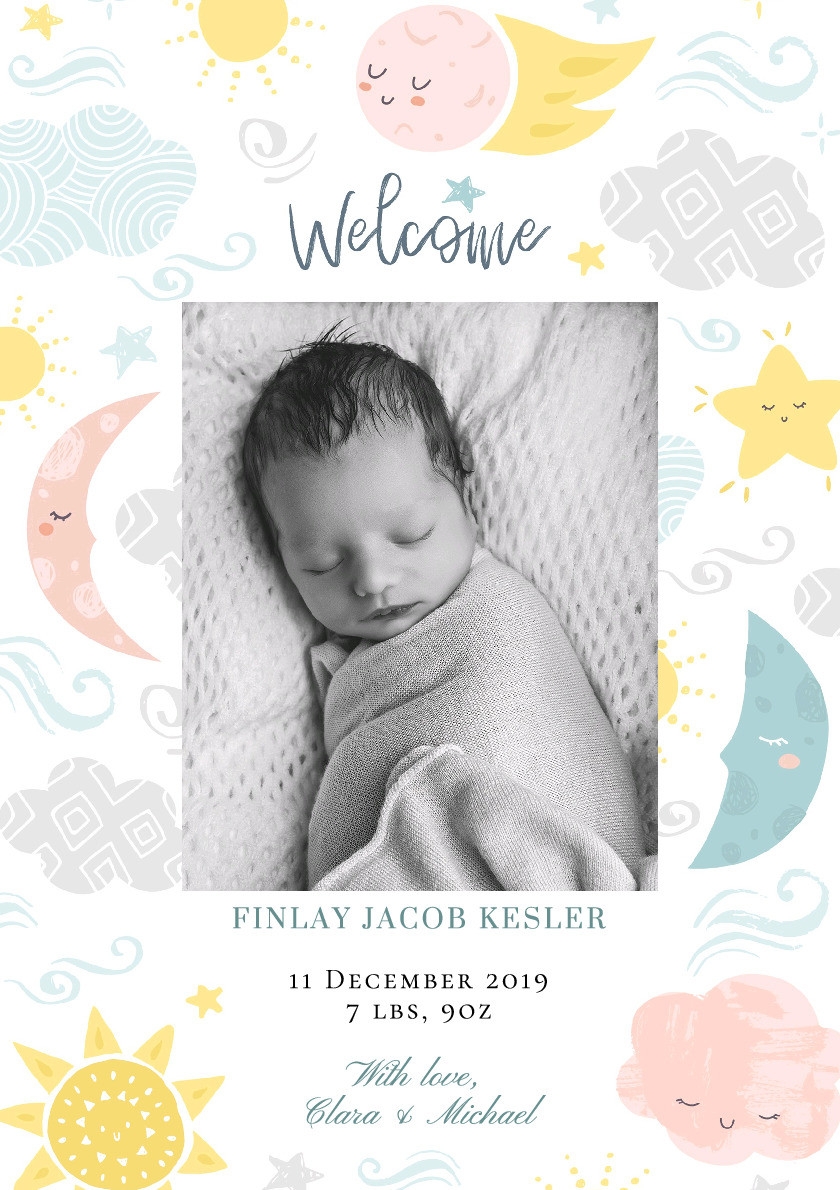 Lullaby Baby Birth Announcement