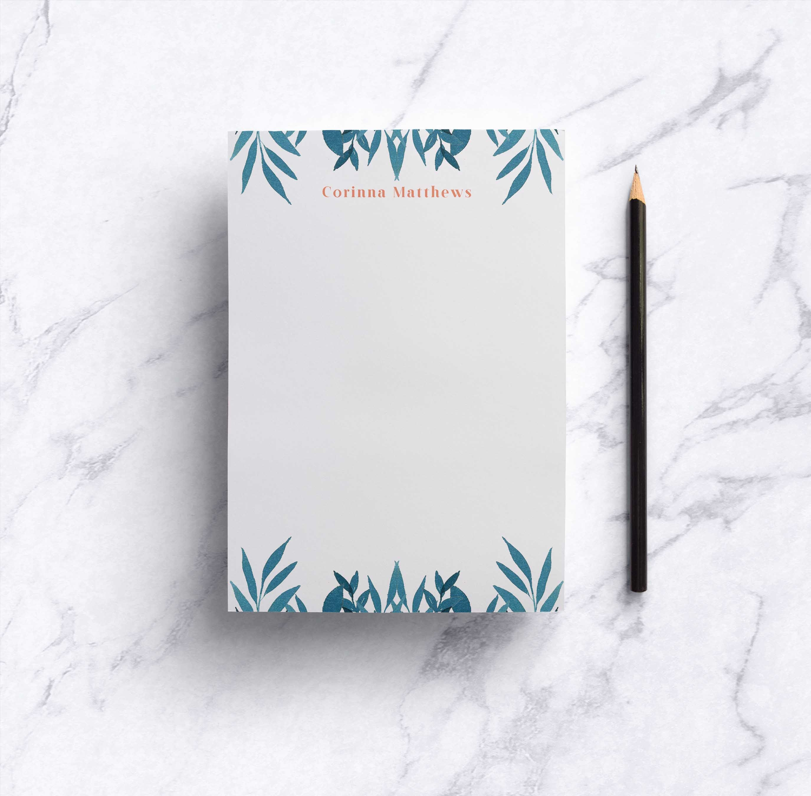 Blue Leaves Notepad