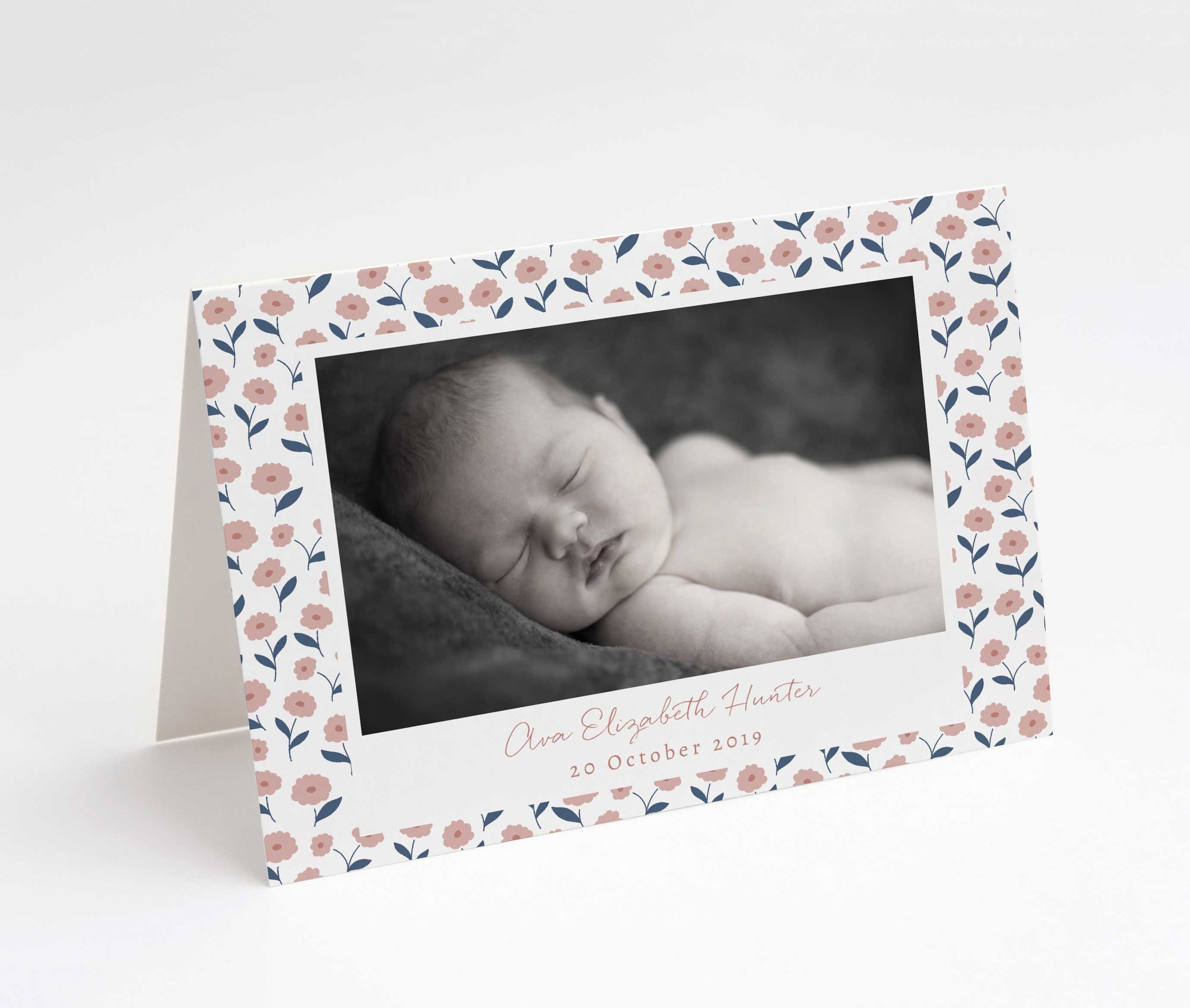 Dainty Pinks Baby Thank You Card