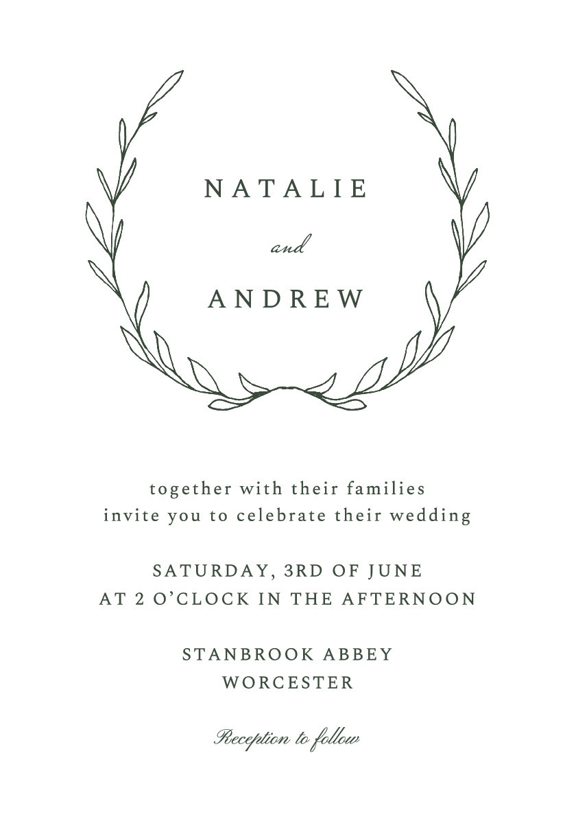 Bay Wreath Wedding Invitation