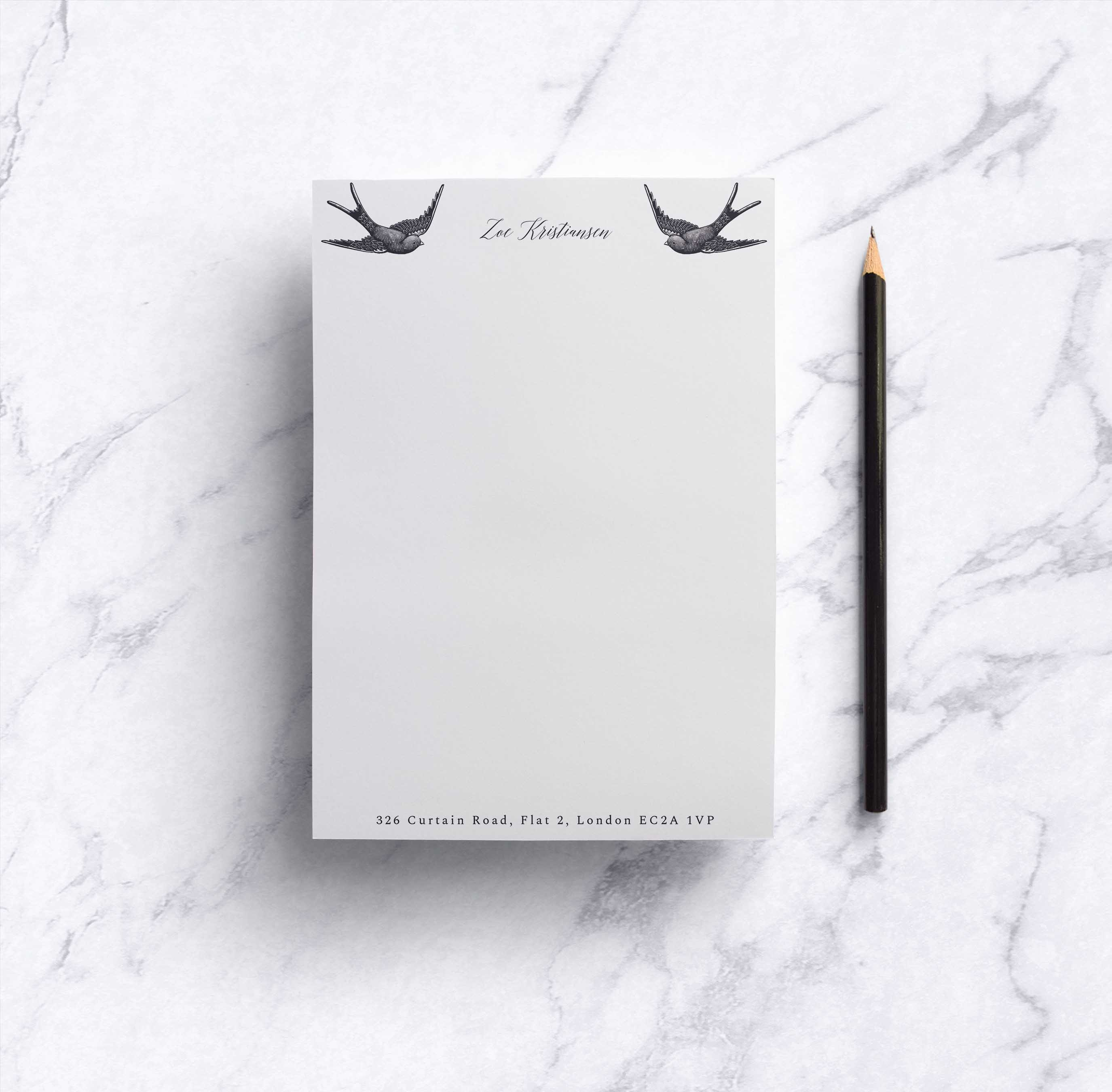 Sweeping Swallows Notepad