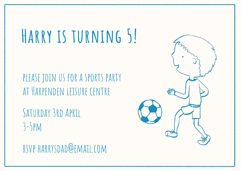 Kick About Party Invitation
