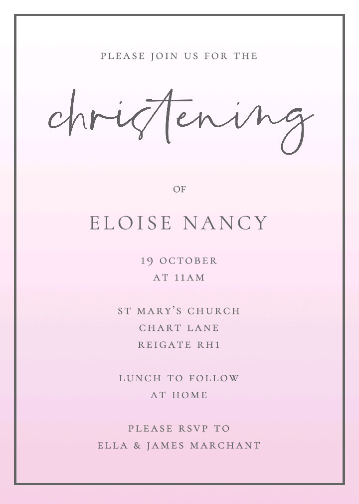 Pink Soft Palette Christening Invitation
