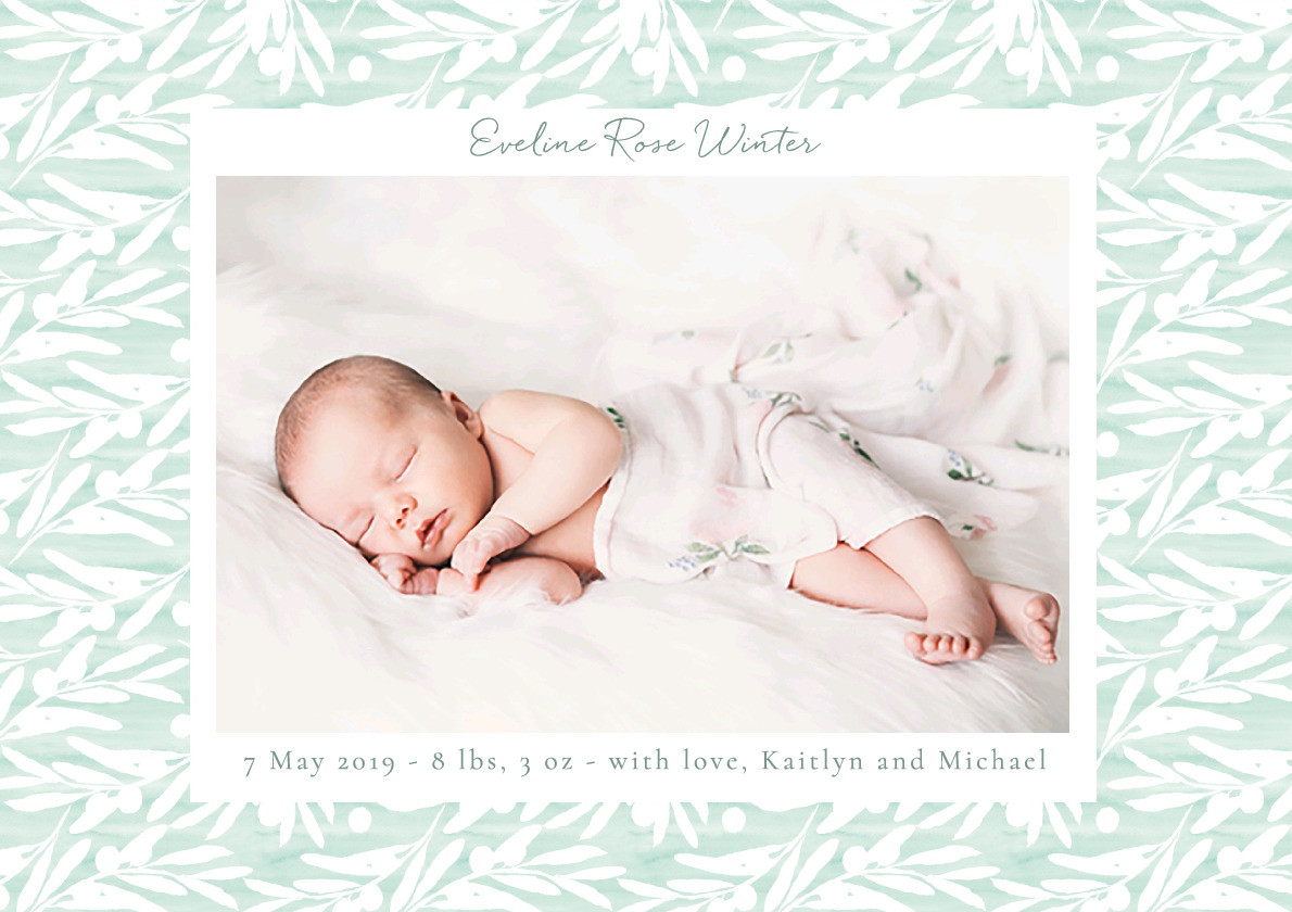 Soft Sage Birth Announcement