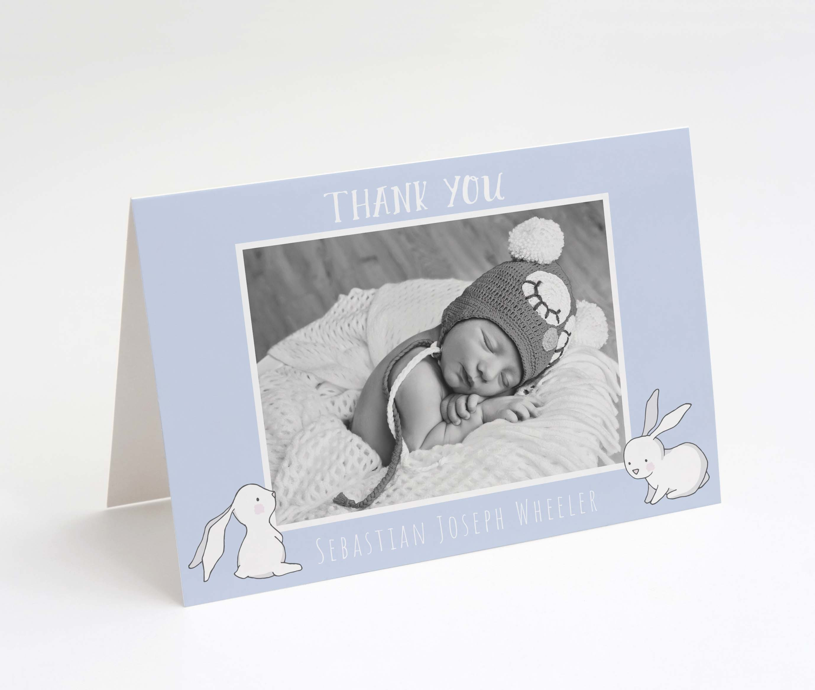 Rabbit Tales Blue Thank You Card
