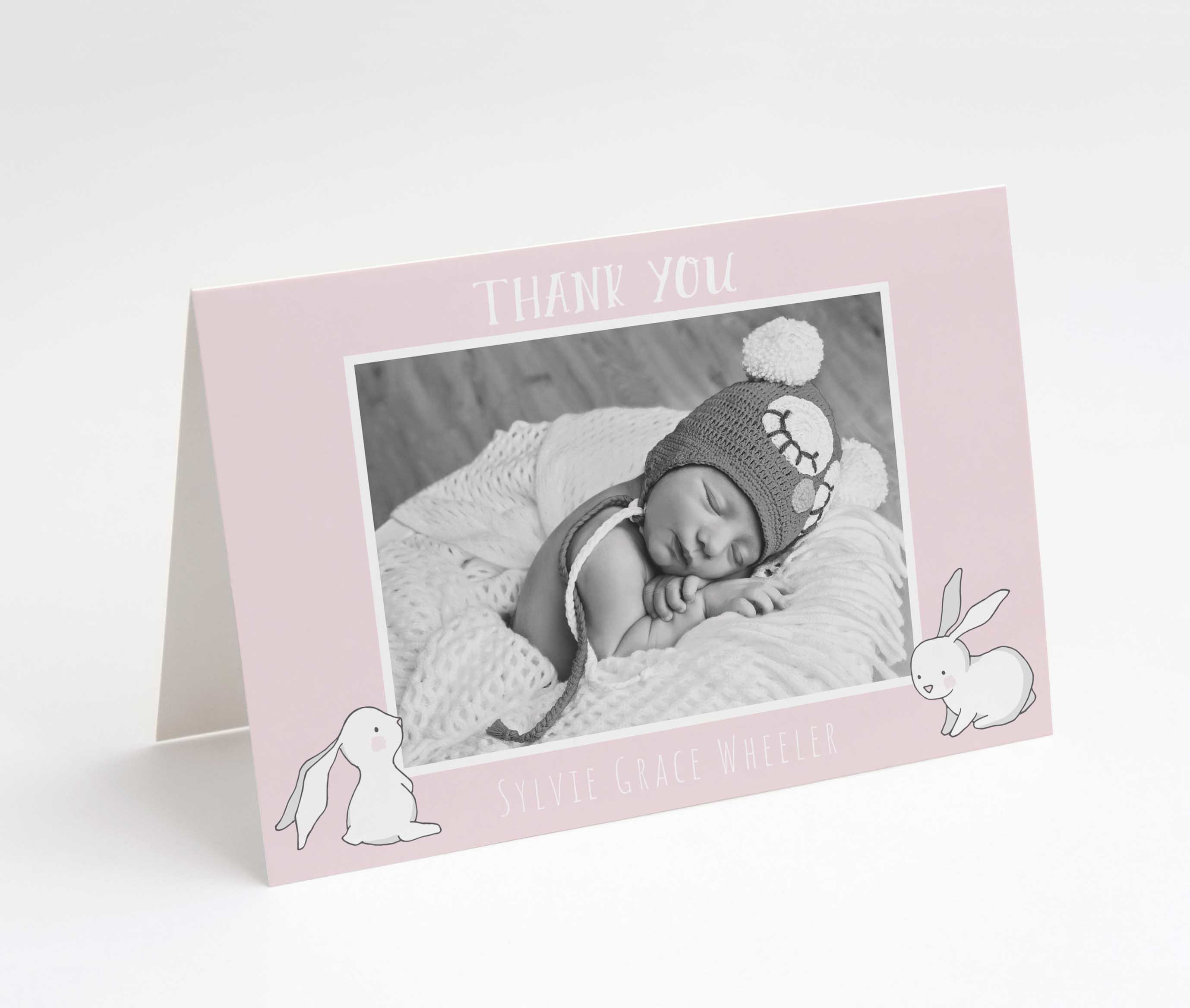 Rabbit Tales Rose Thank You Card