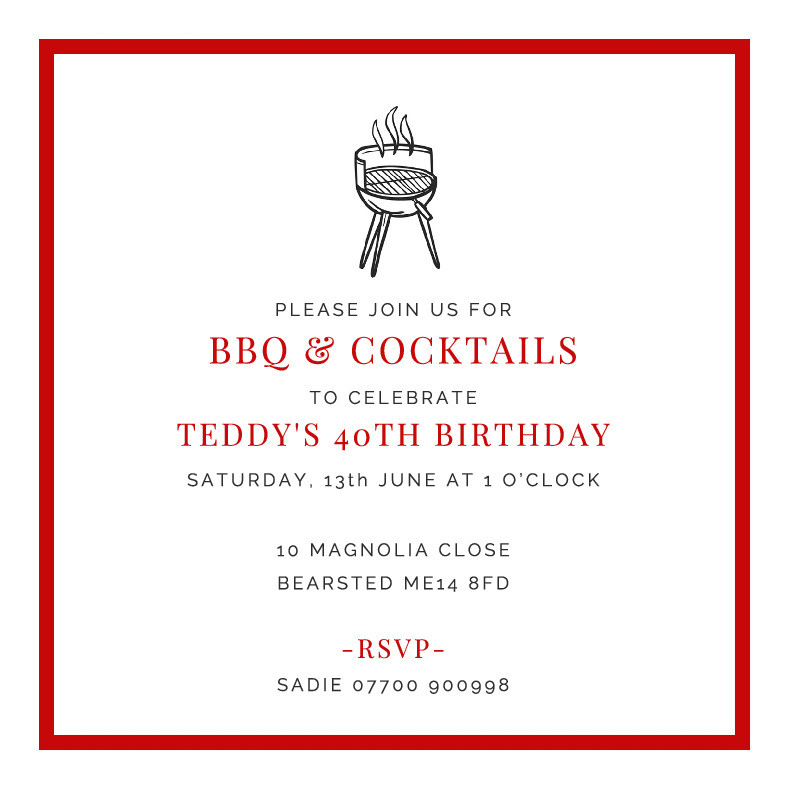BBQ & Cocktails Party Invitation