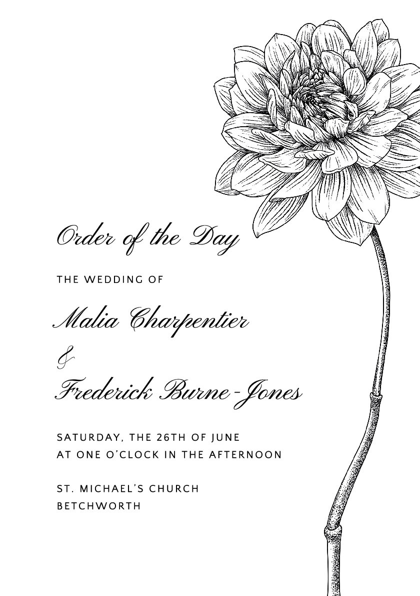 Botanical Sketch Order of Service