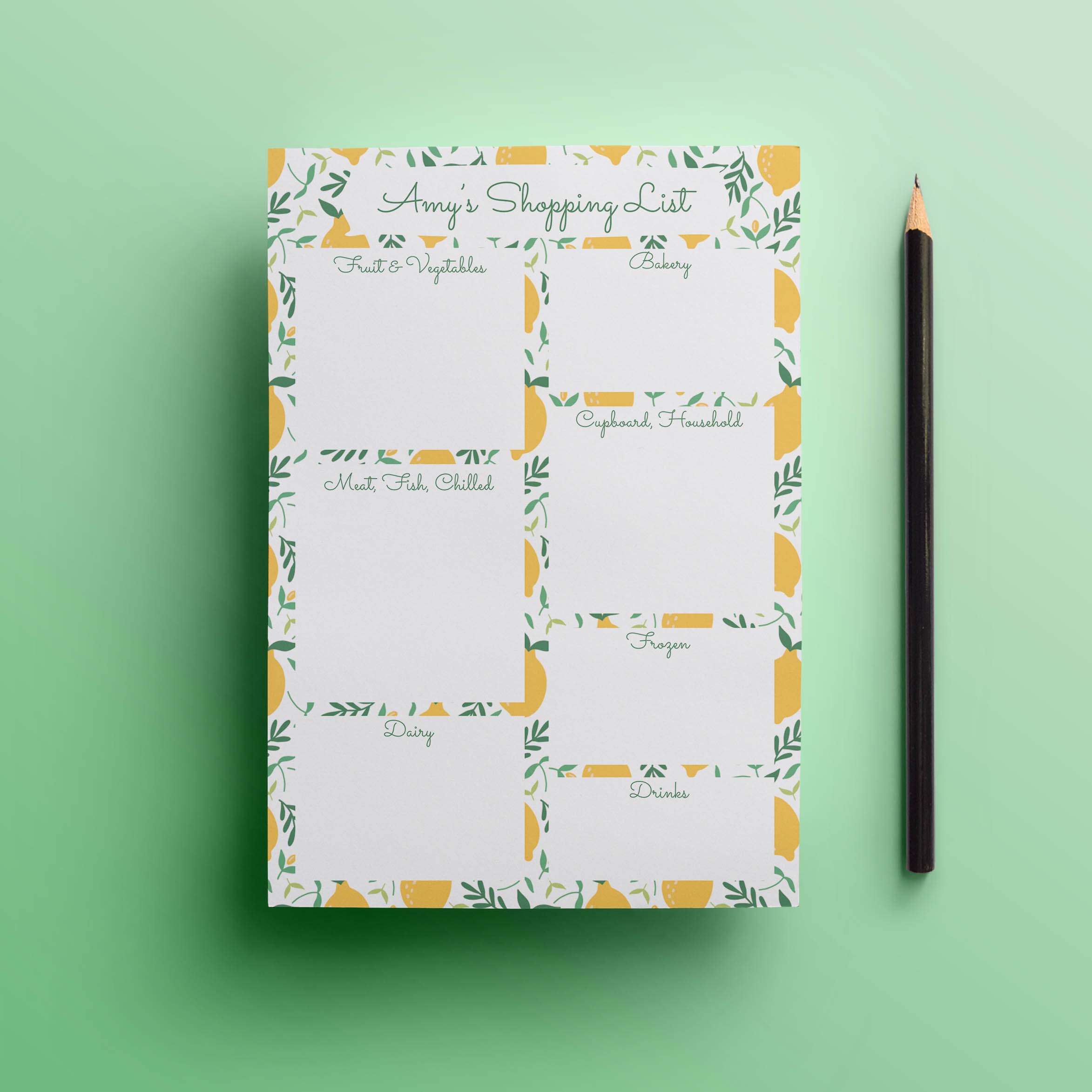 Little Lemons Shopping List Notepad