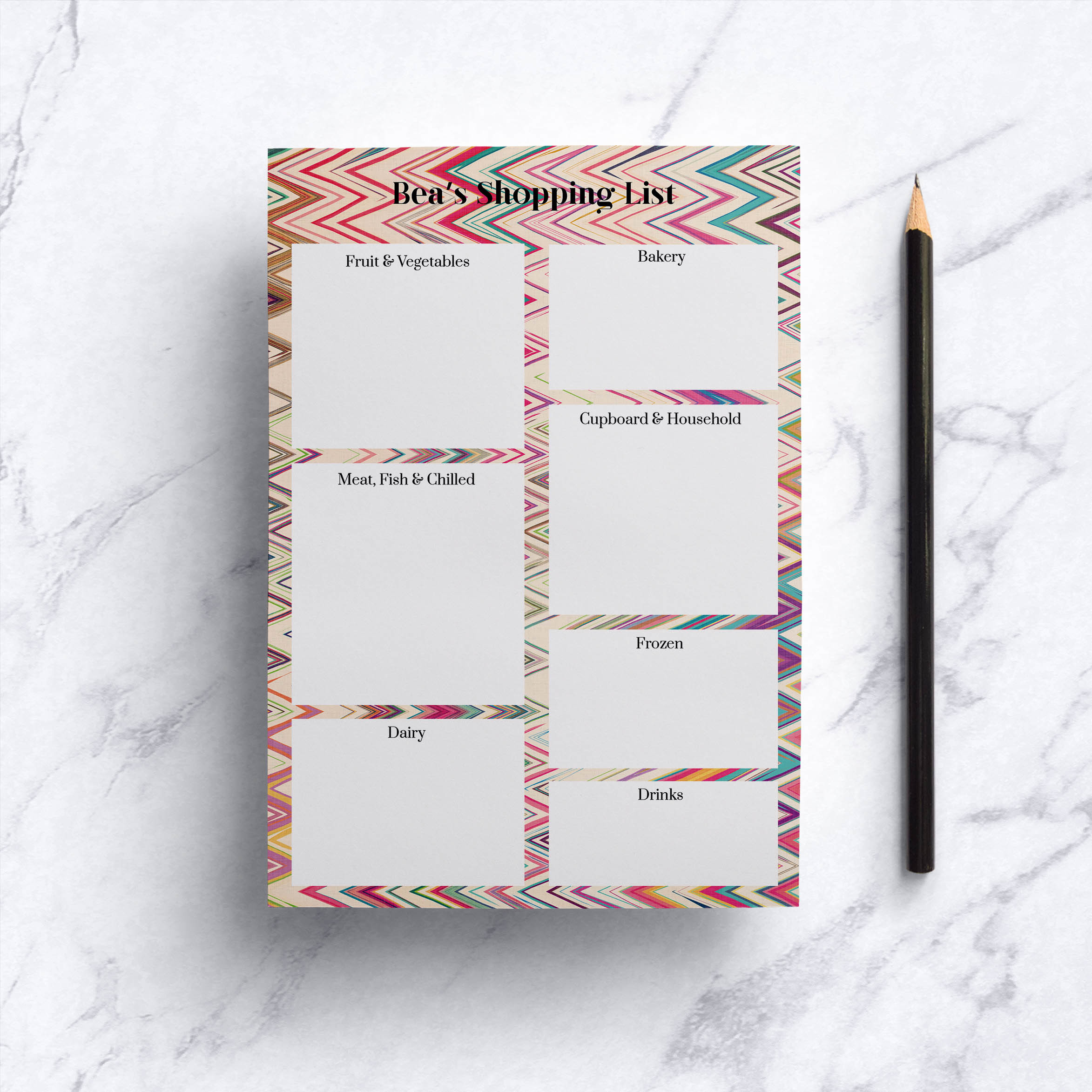 Chevron Rainbow Shopping List Notepad