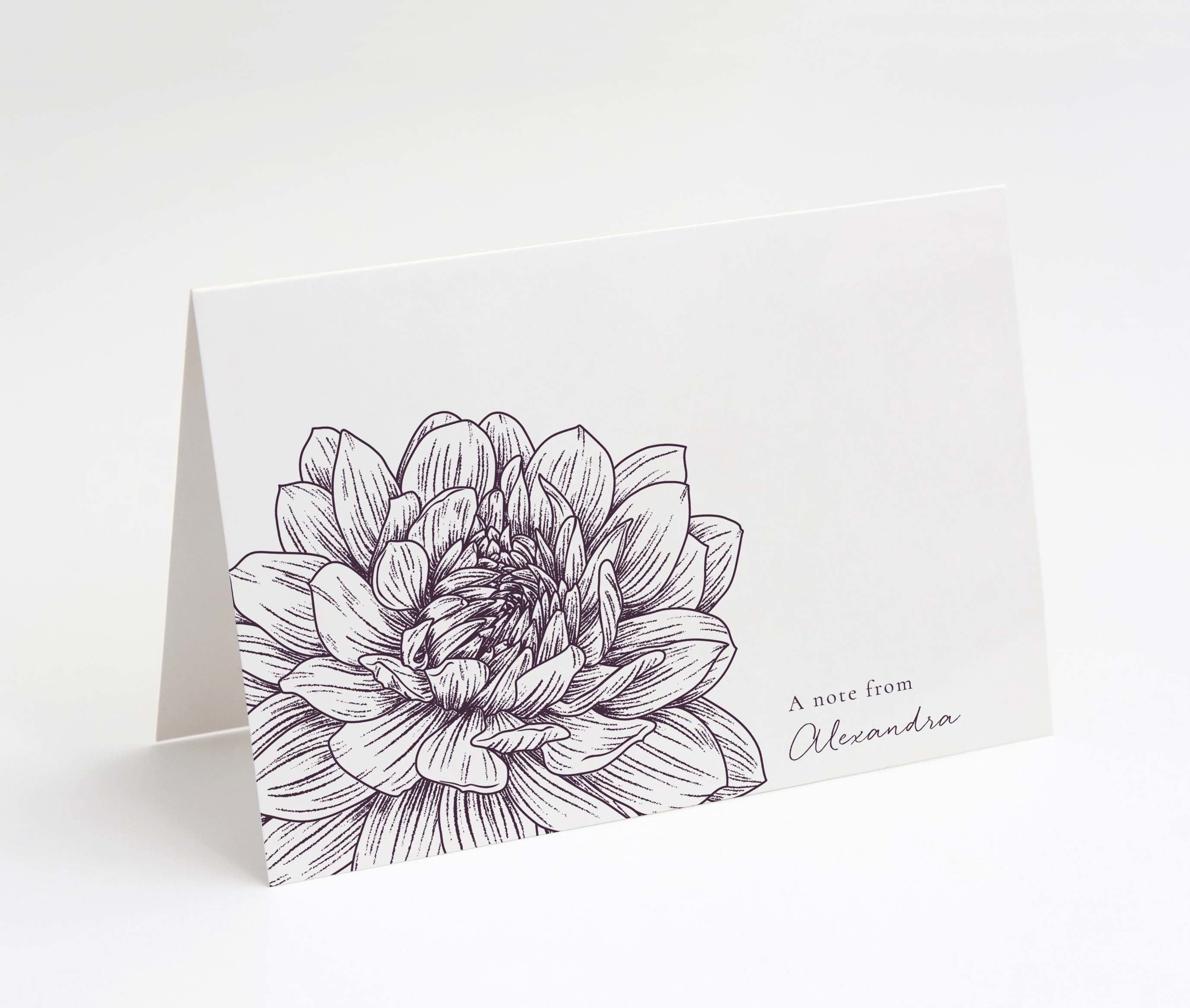 Floral Sketch Folded Notecard