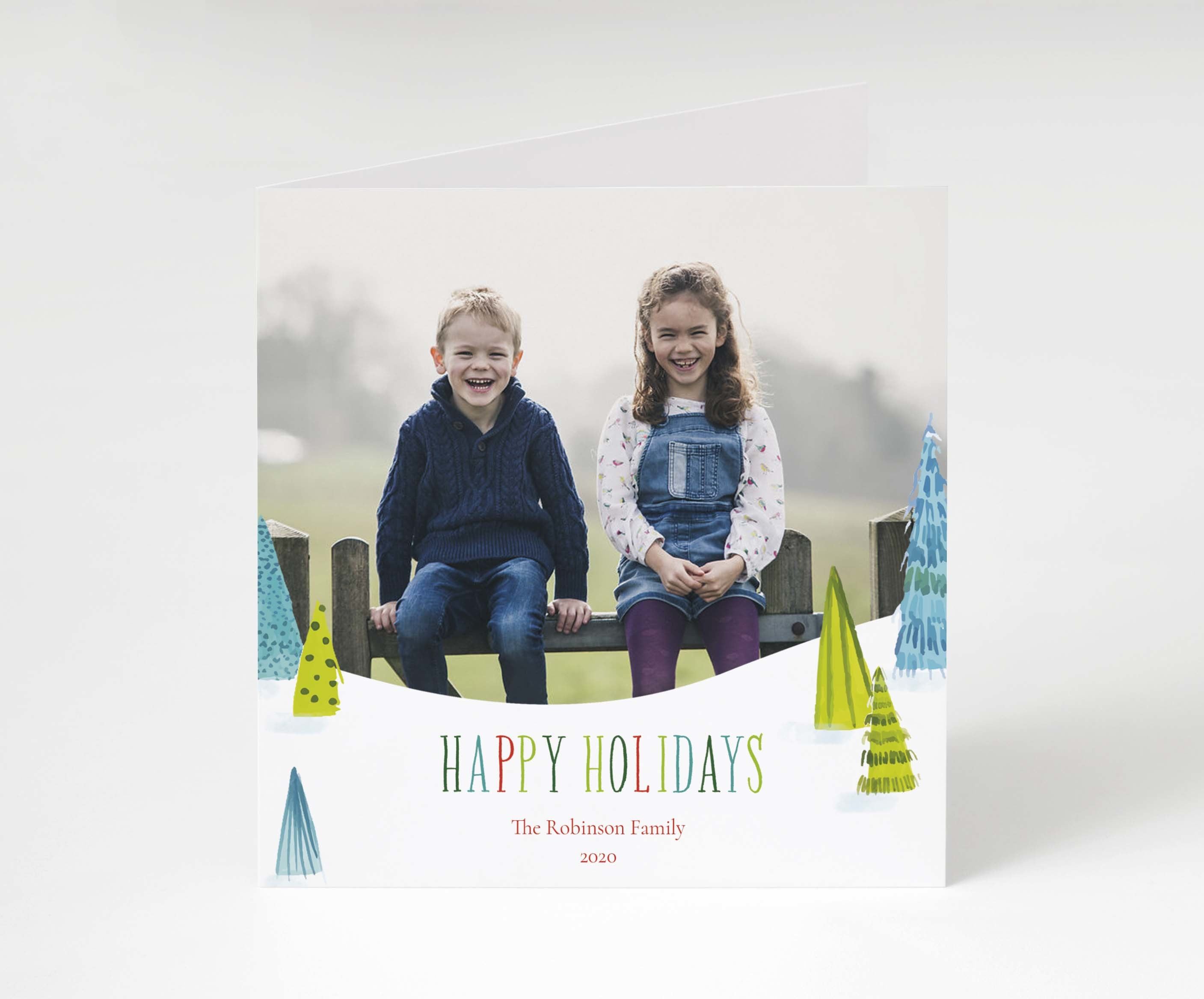 Festive Painted Trees Holiday Card