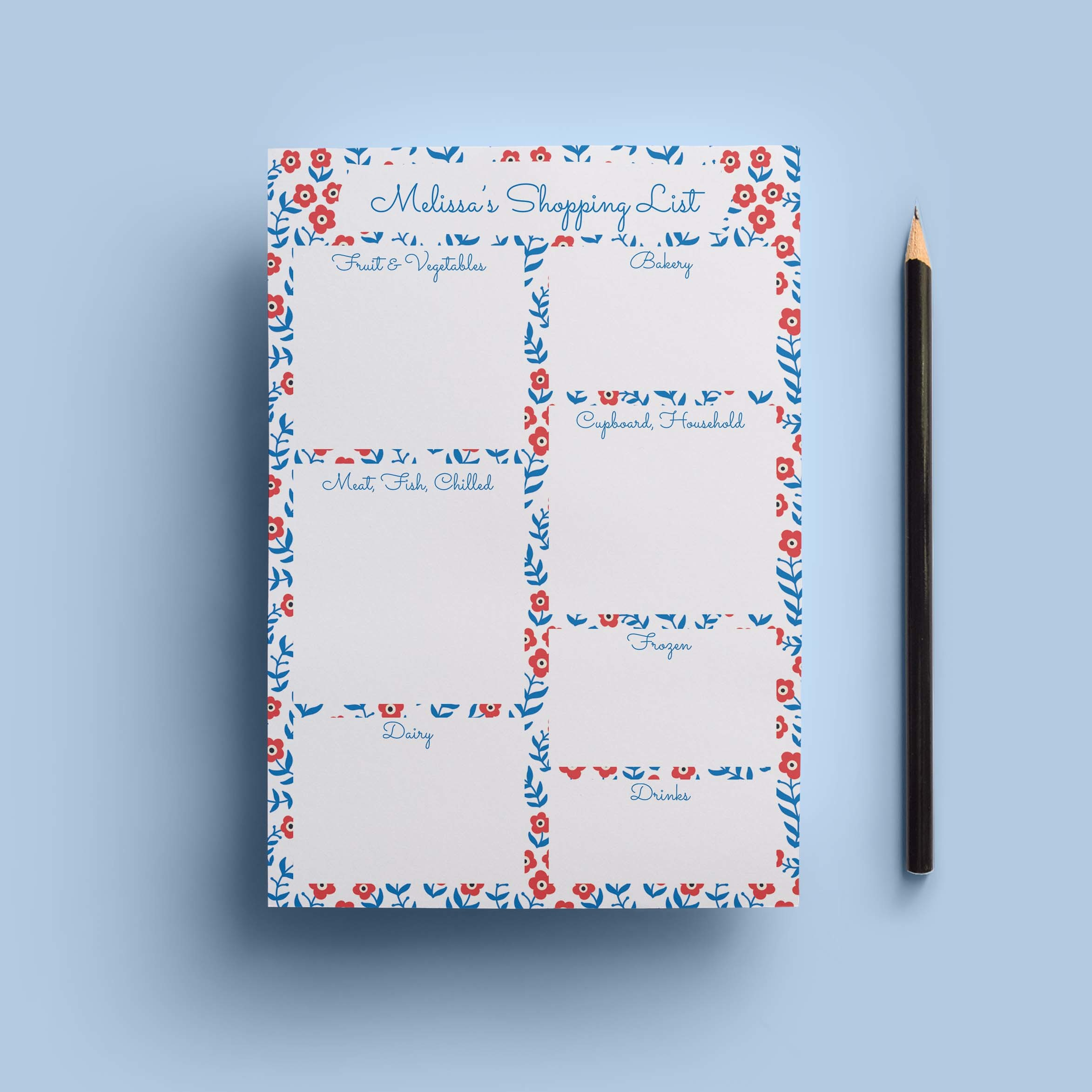 Ditsy Floral Shopping List Notepad